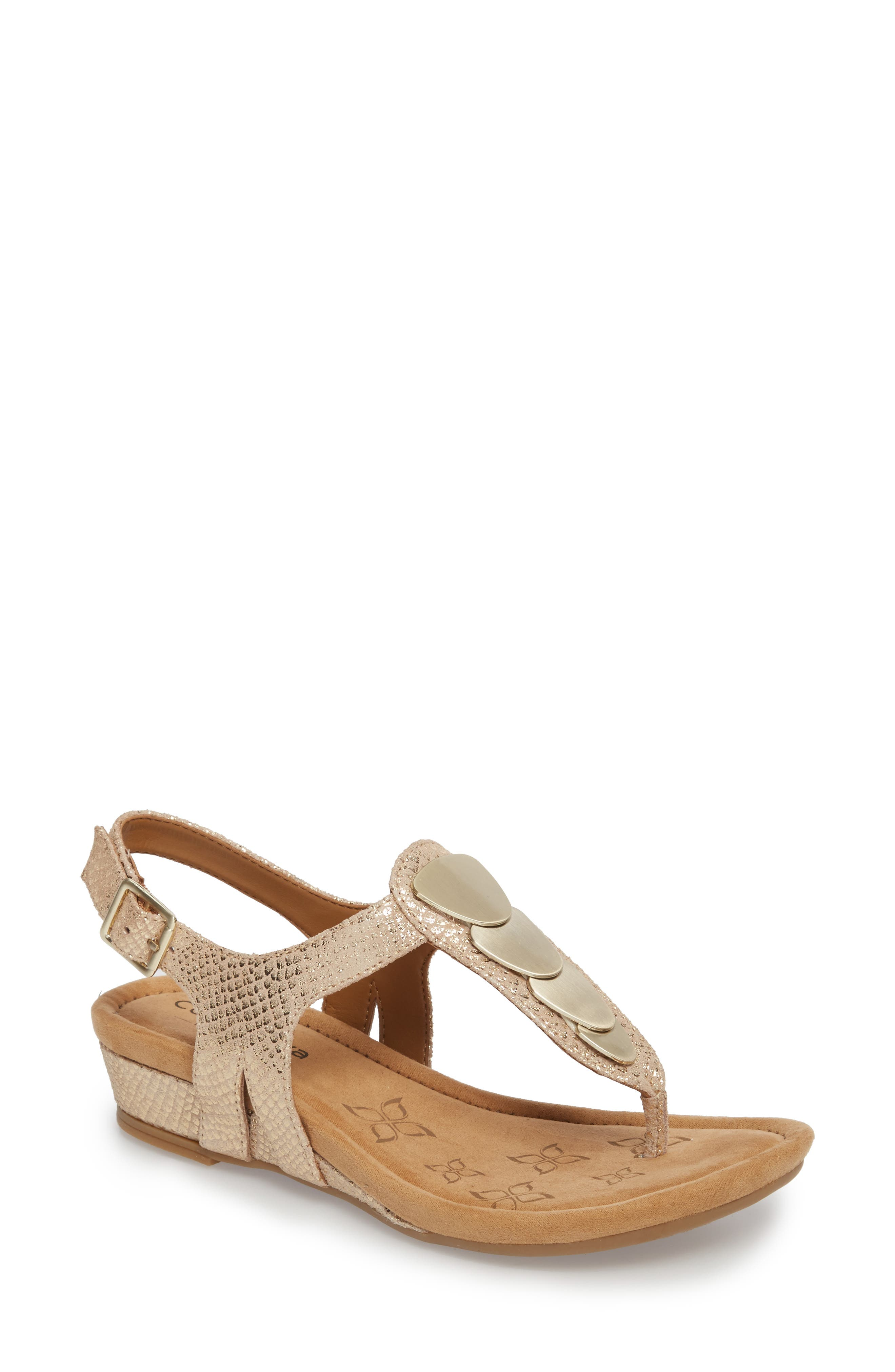 Summit Wedge Sandal,                             Main thumbnail 1, color,                             Gold Suede