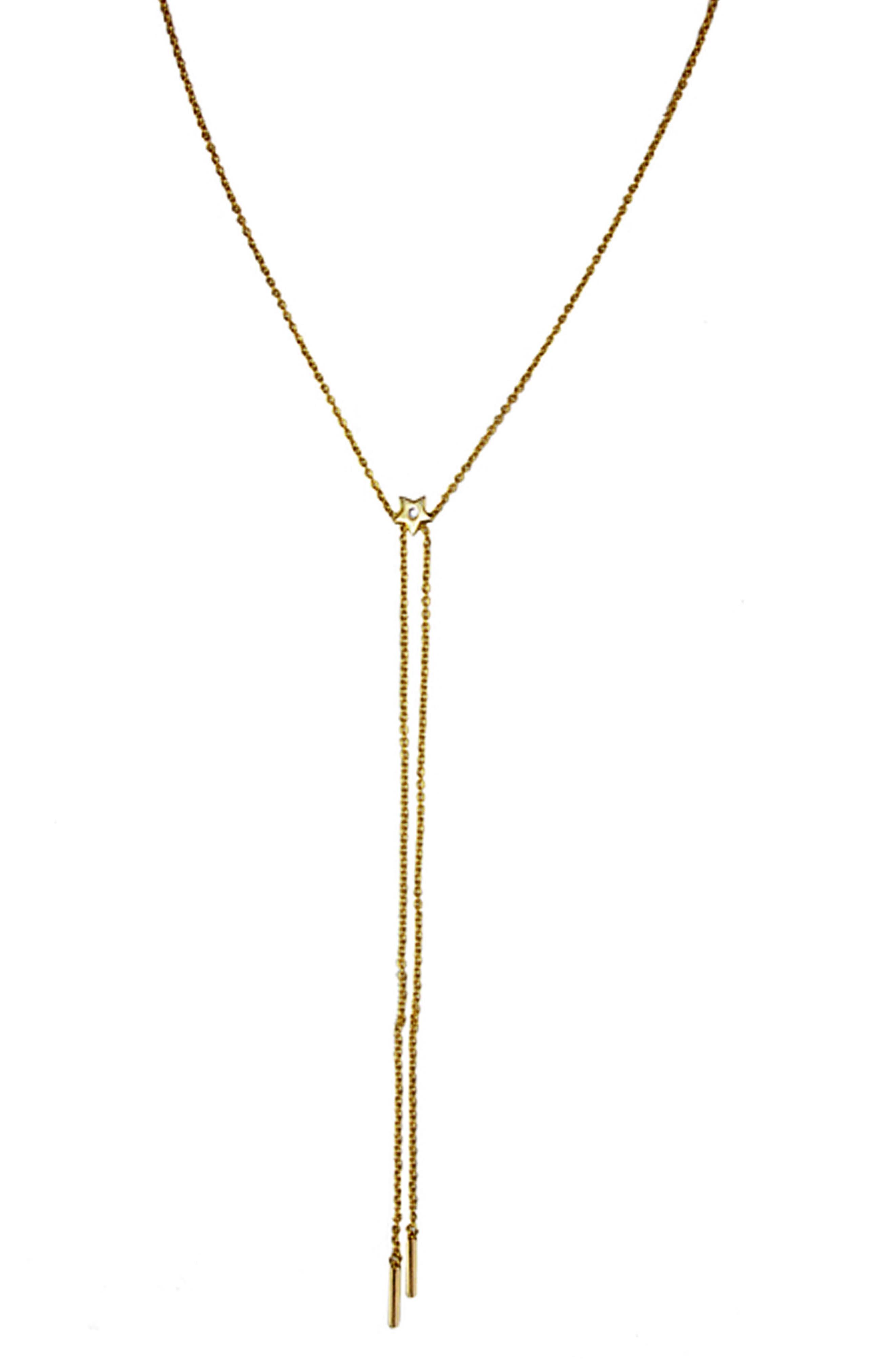 Star Slide Lariat Choker Necklace,                             Main thumbnail 1, color,                             Gold