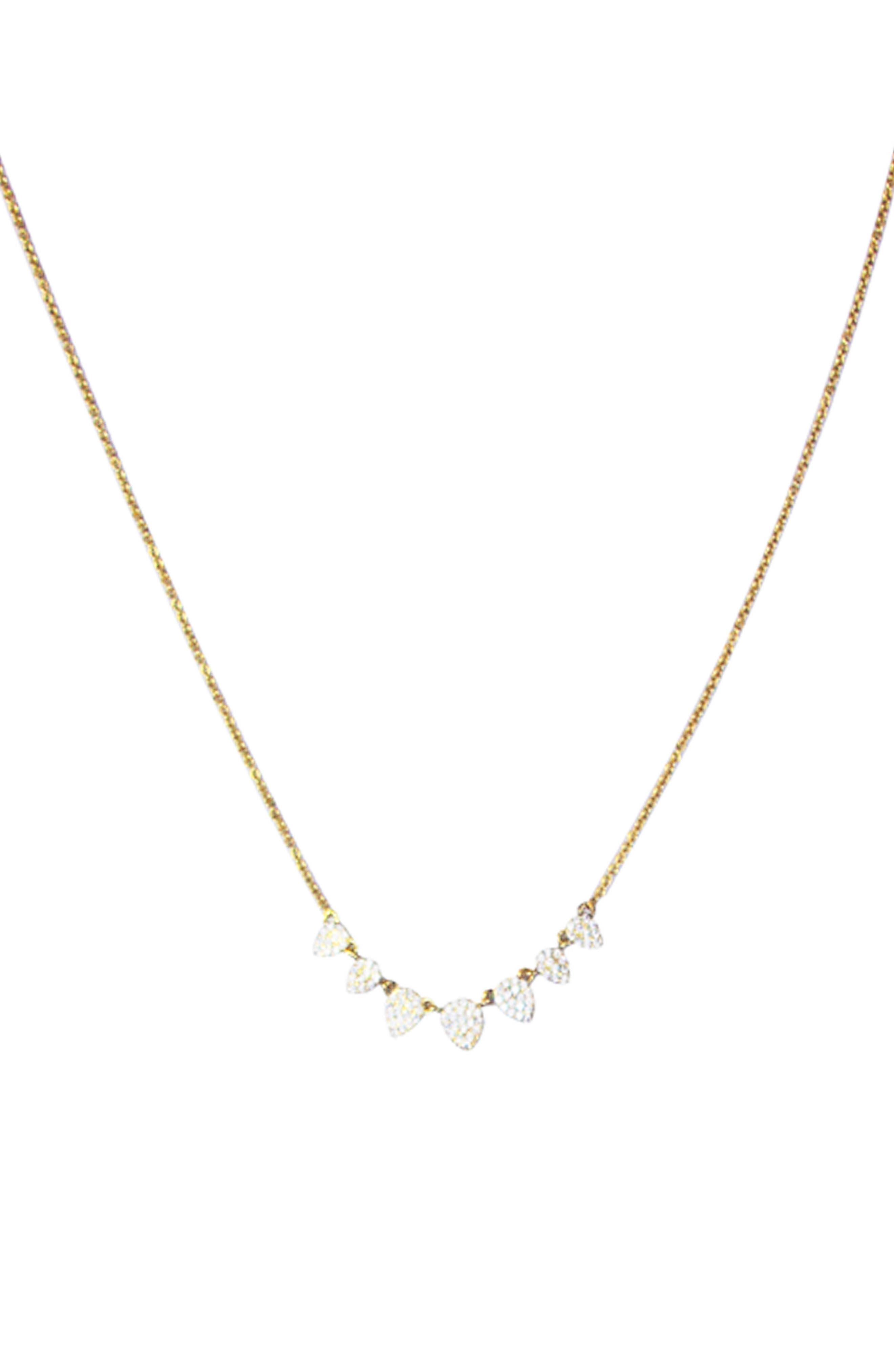 Cubic Zirconia Pavé Necklace,                             Main thumbnail 1, color,                             Gold