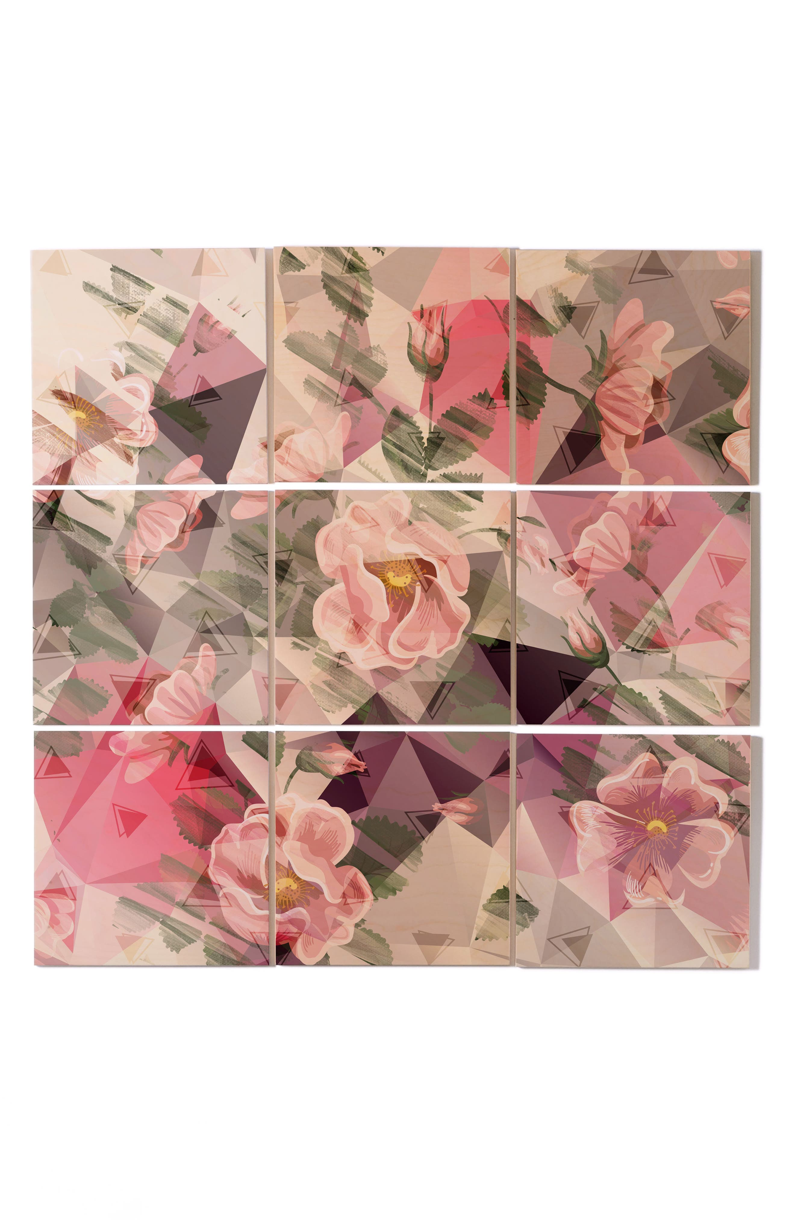 Floral 9-Piece Wood Wall Mural,                         Main,                         color, Pink