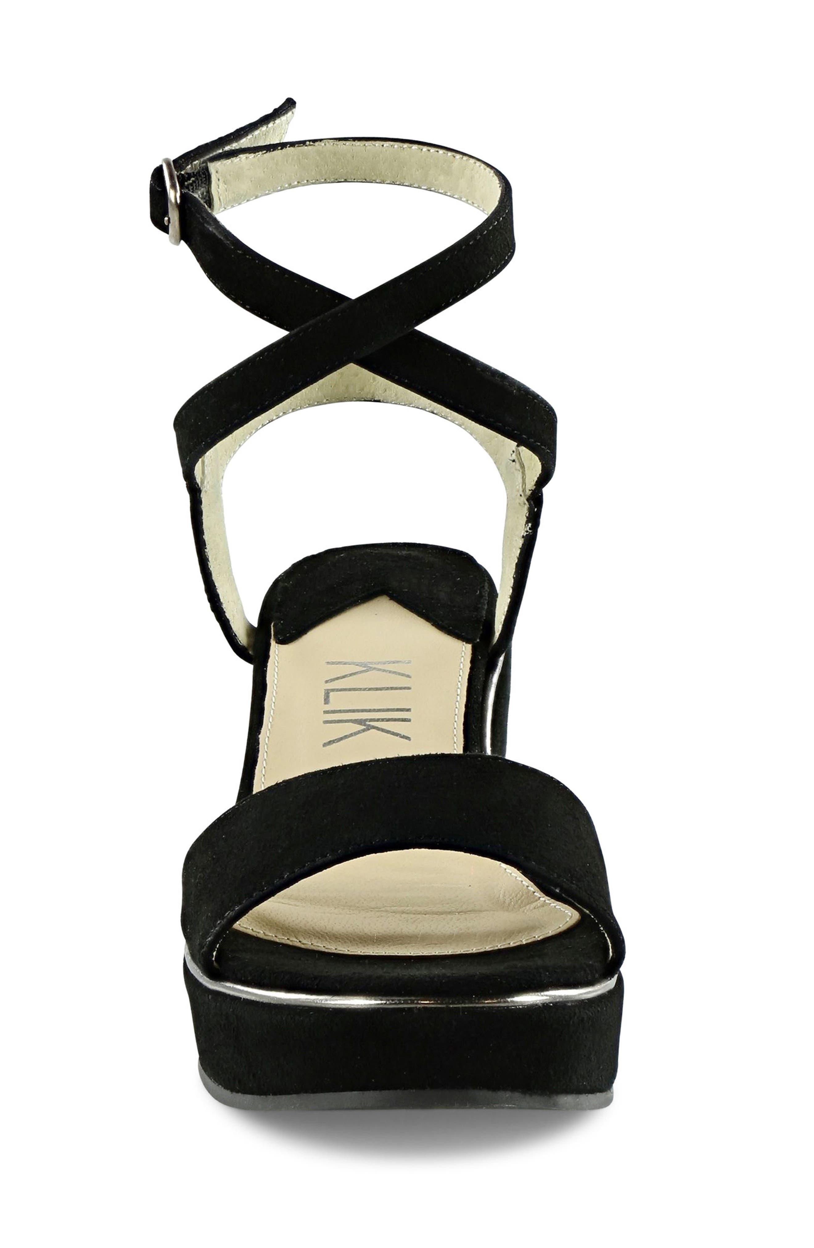 Sashi Platform Sandal,                             Alternate thumbnail 4, color,                             Black Suede
