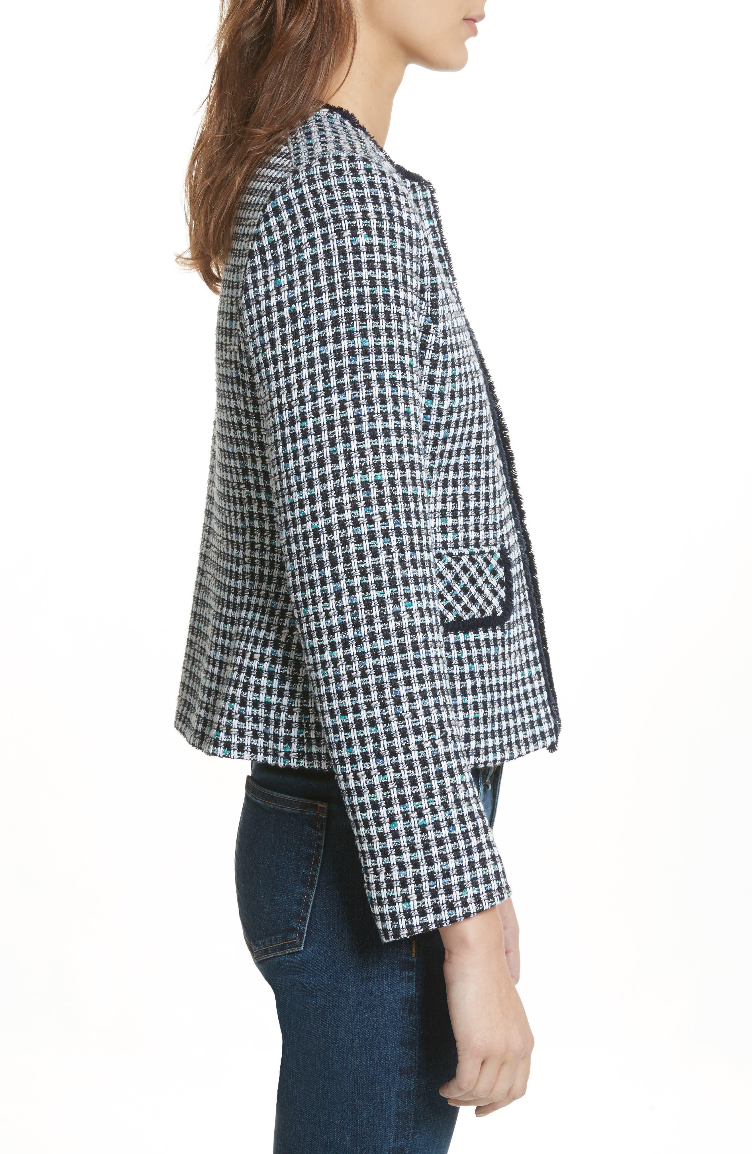 Check Short Tweed Jacket,                             Alternate thumbnail 3, color,                             Navy/ White