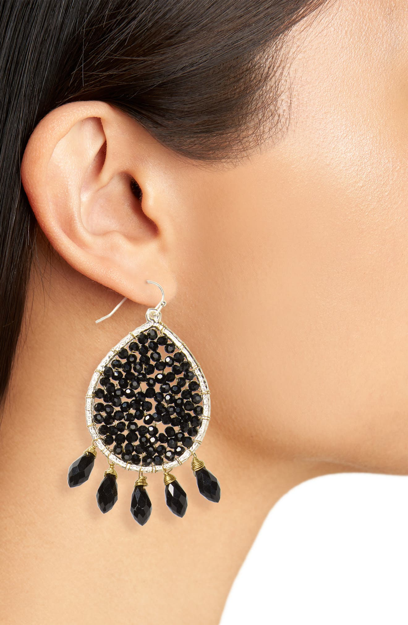 Crystal Teardrop Earrings,                             Alternate thumbnail 2, color,                             Black