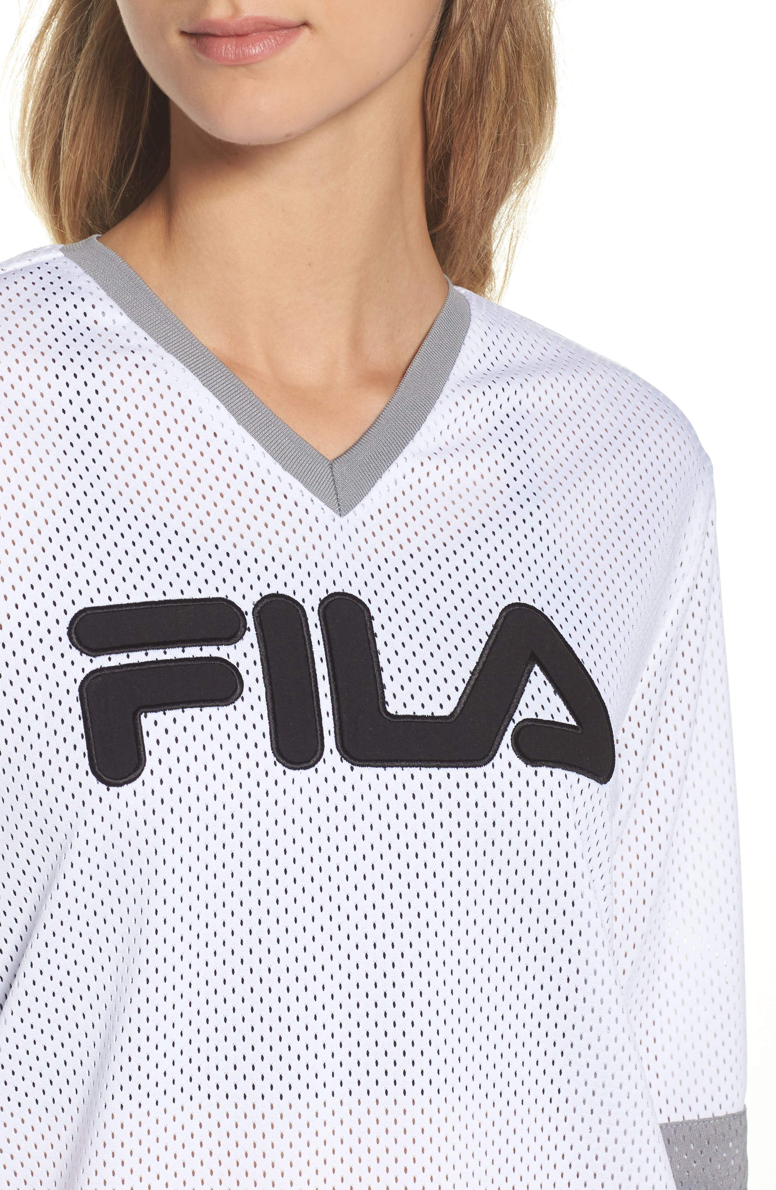Tanya Hockey Jersey,                             Alternate thumbnail 4, color,                             White/ Black/ Silver Dollar