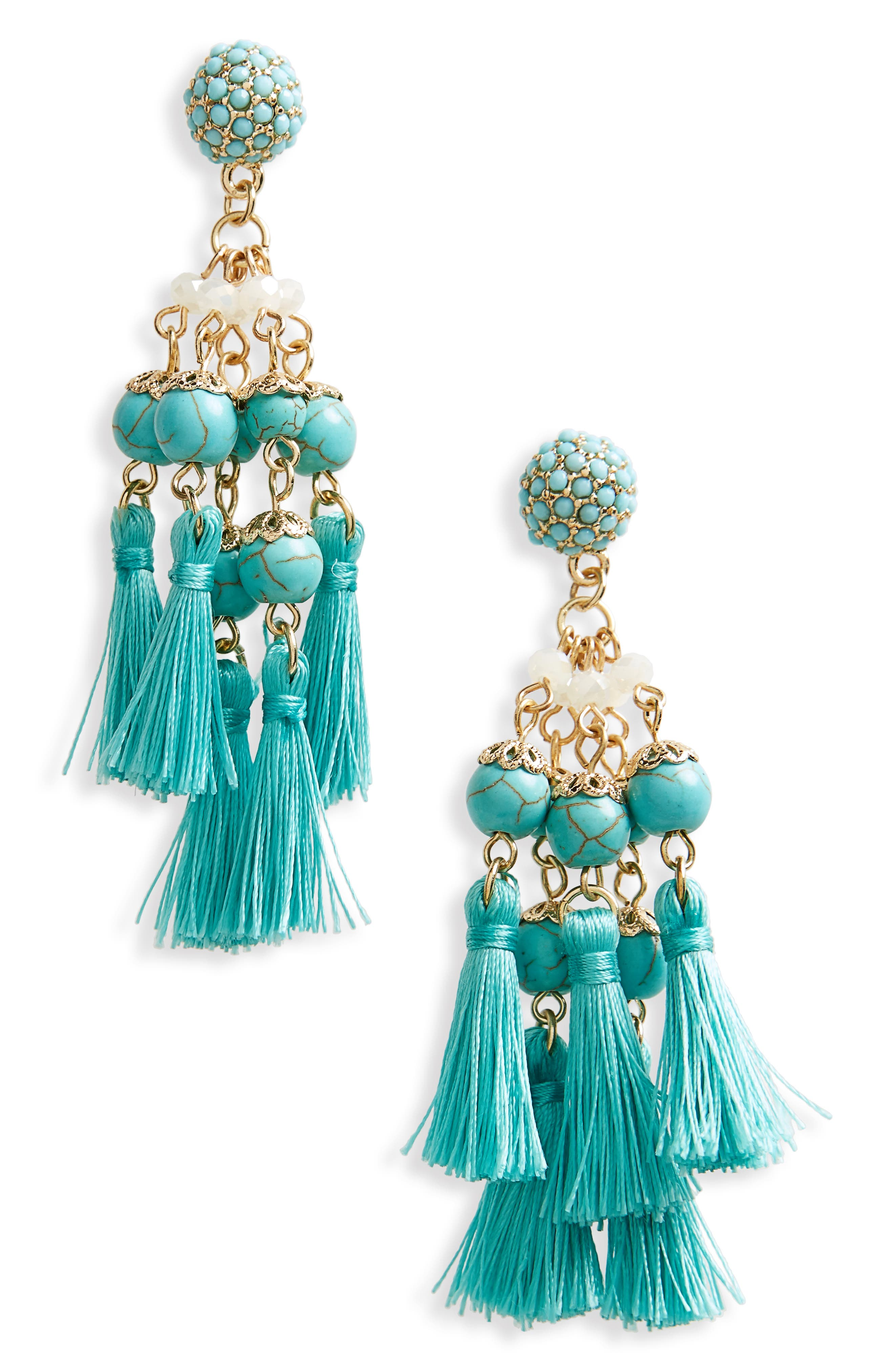Tassel Howlite Bead Earrings,                         Main,                         color, Turquoise
