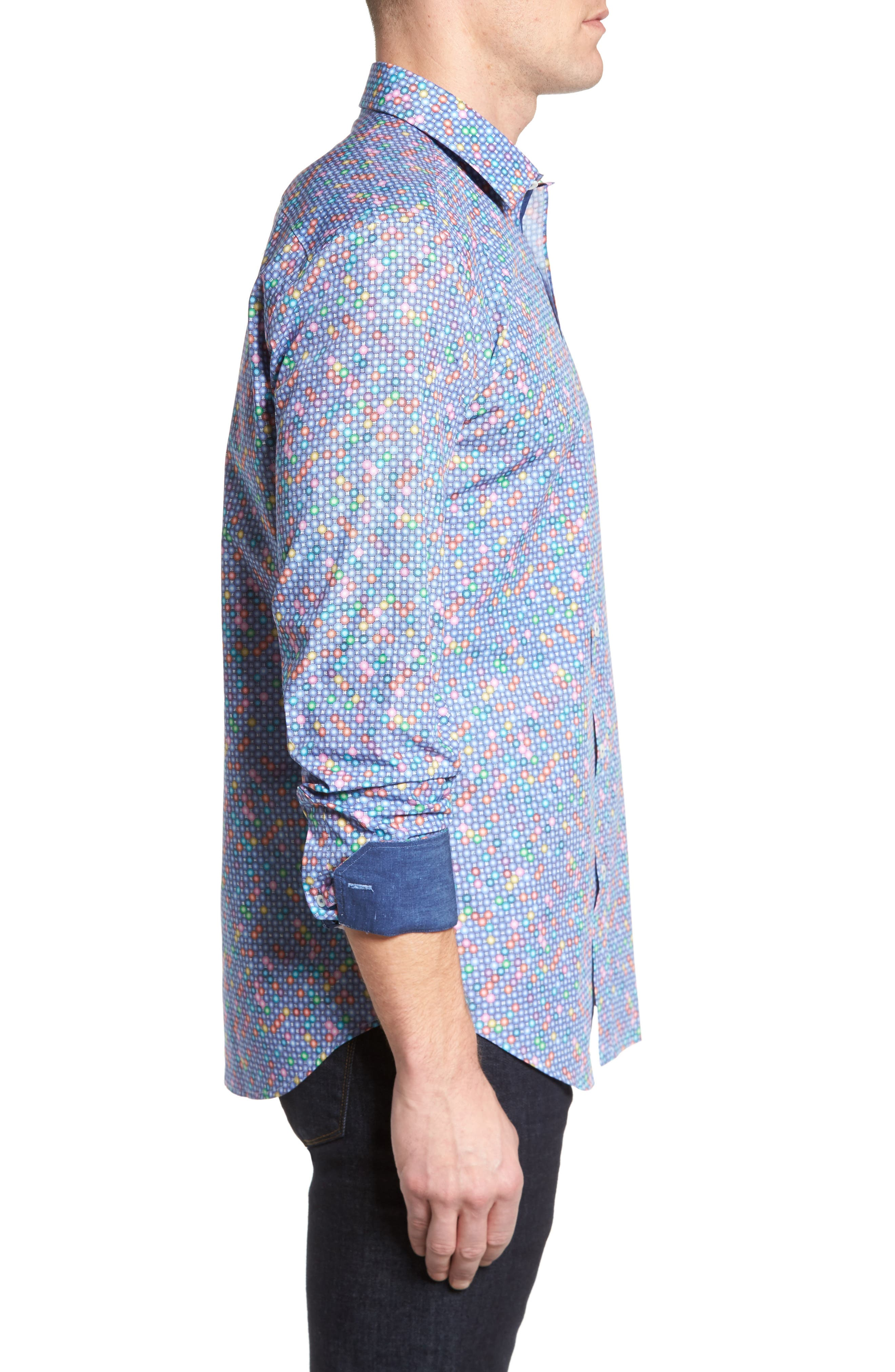 Shaped Fit Print Sport Shirt,                             Alternate thumbnail 3, color,                             Orchid