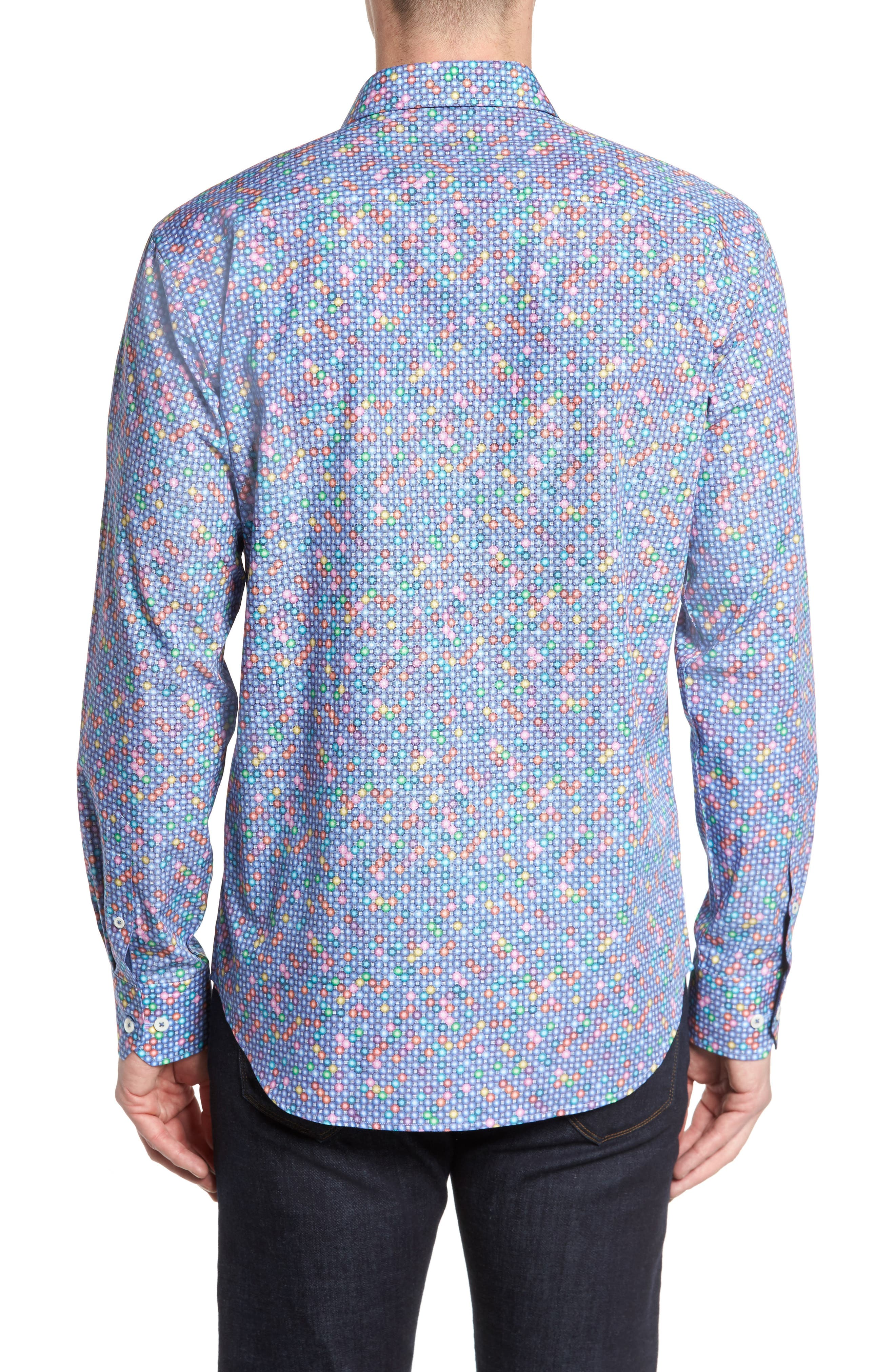 Shaped Fit Print Sport Shirt,                             Alternate thumbnail 2, color,                             Orchid