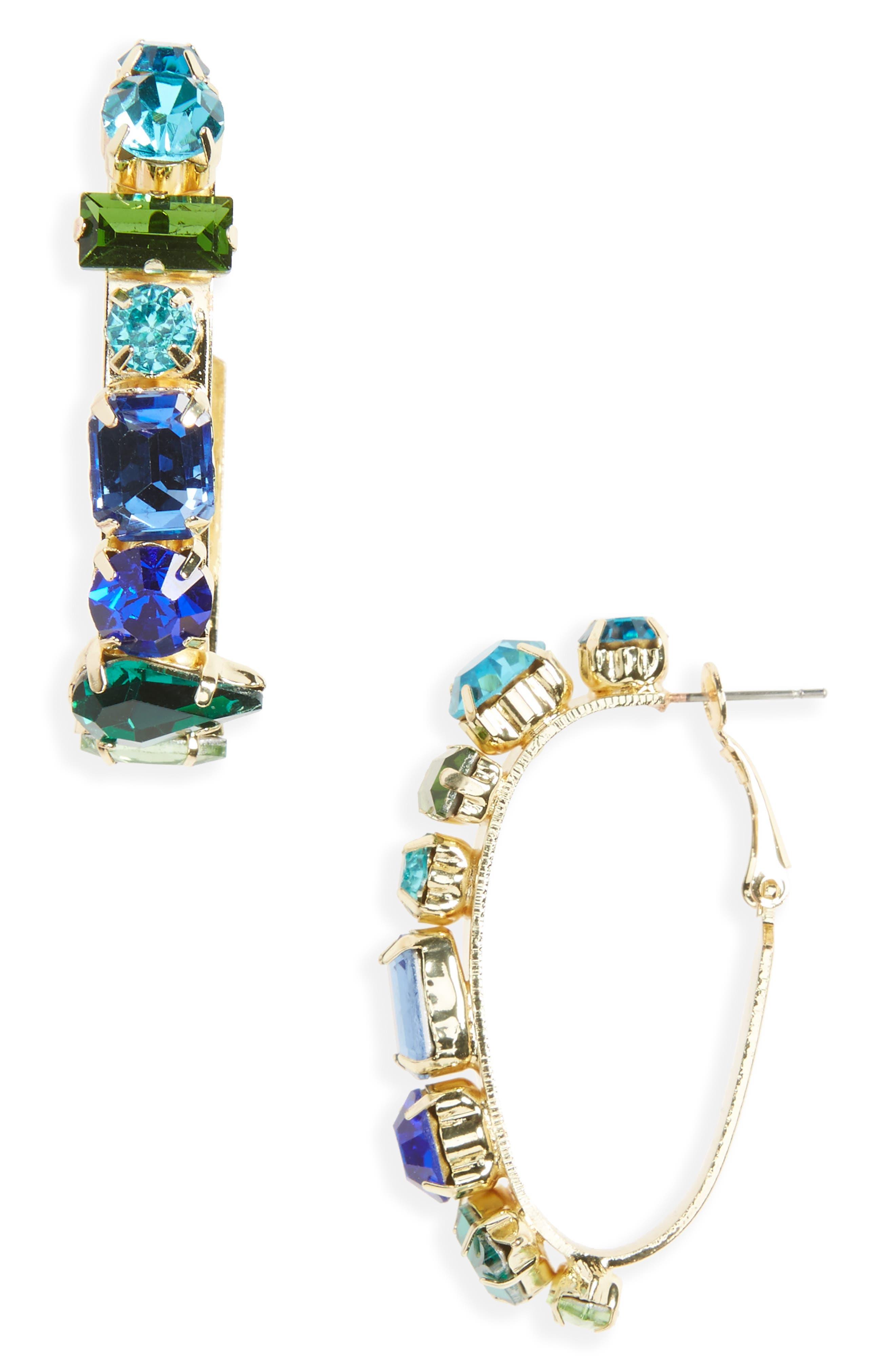 Crystal Hoop Earrings,                         Main,                         color, Gold/ Blue