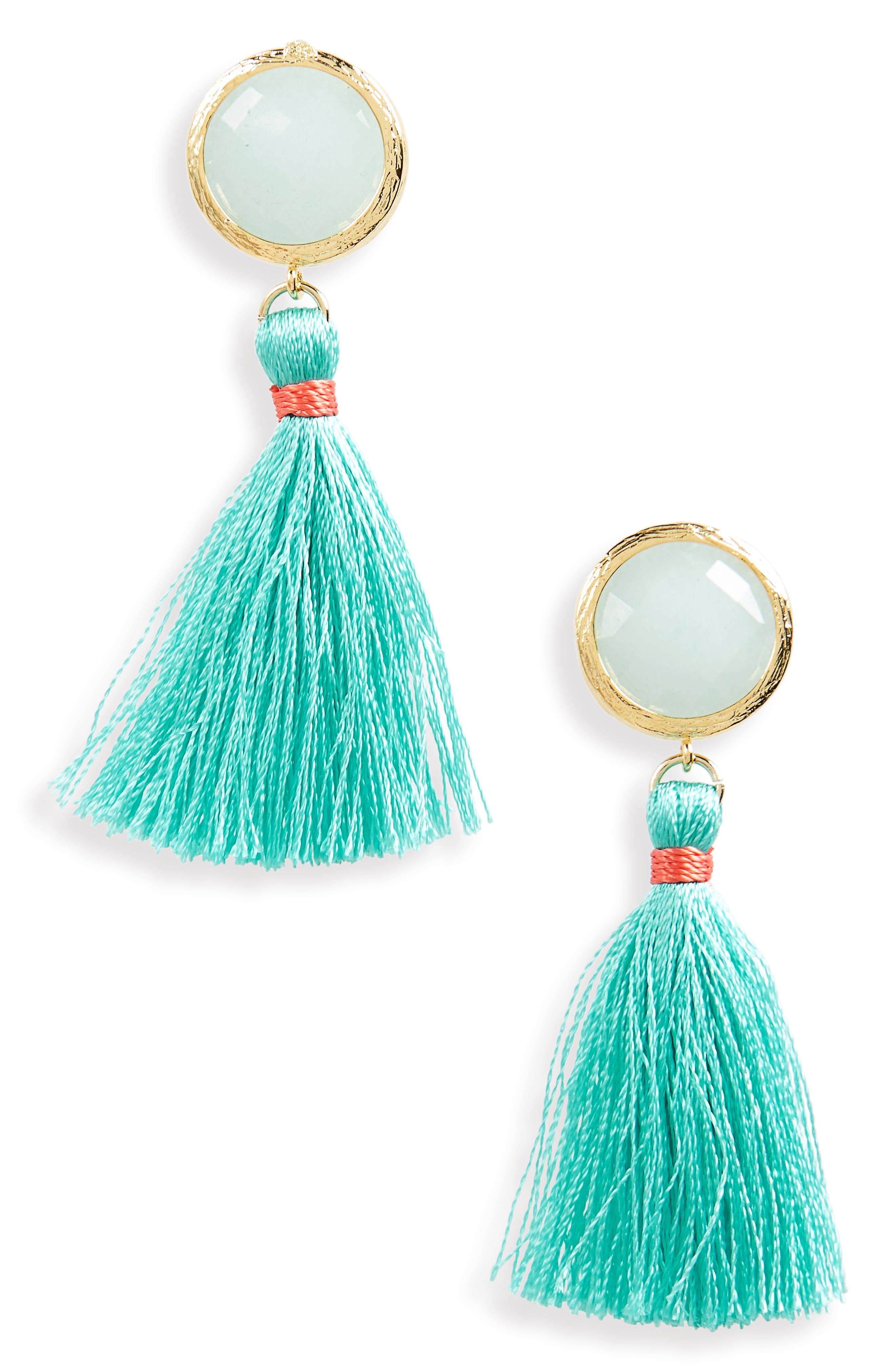 Beaded Tassel Earrings,                         Main,                         color, Mint