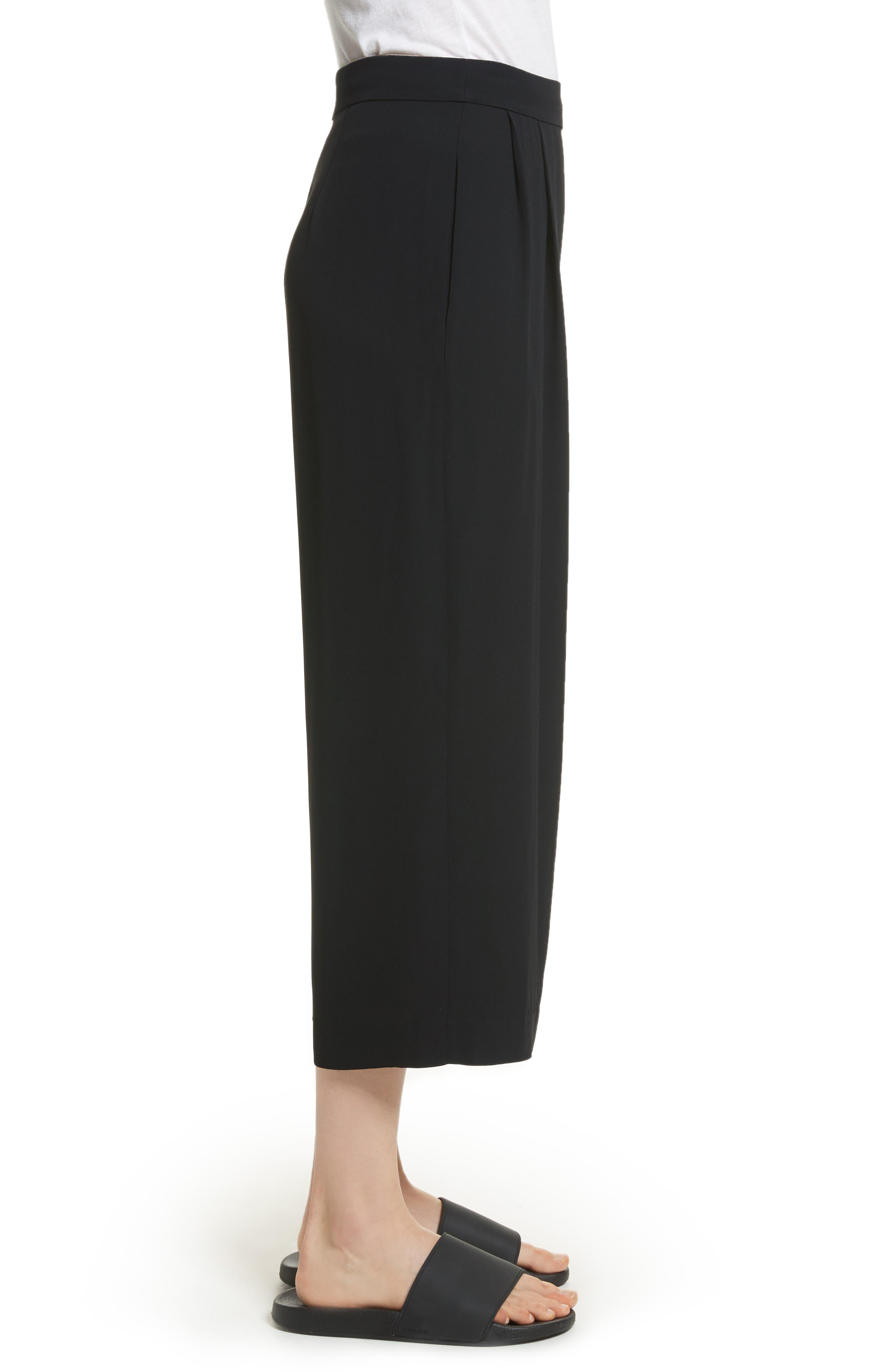 Belted Culottes,                             Alternate thumbnail 3, color,                             Black