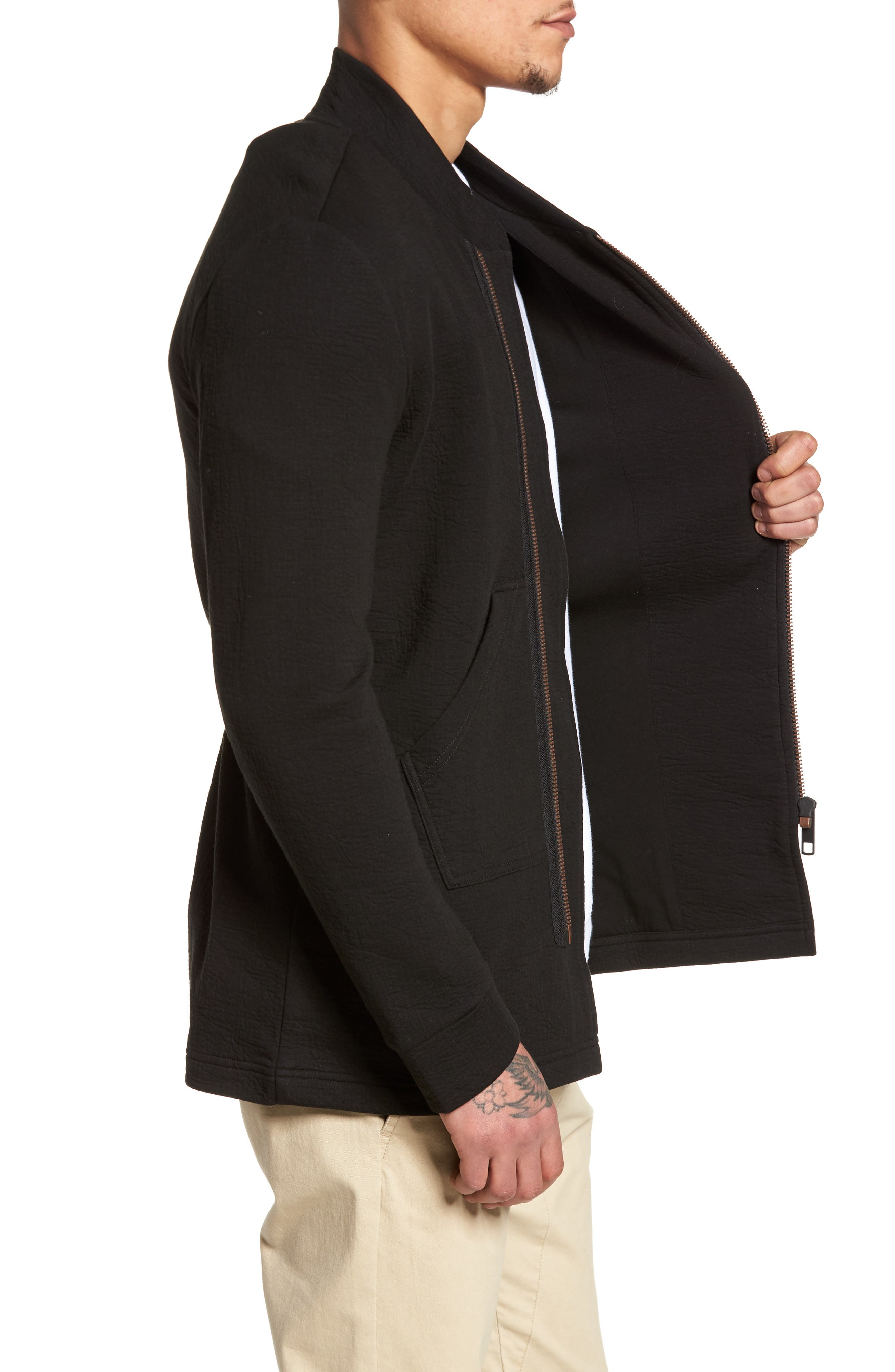 Zip Fleece Track Jacket,                             Alternate thumbnail 3, color,                             Black