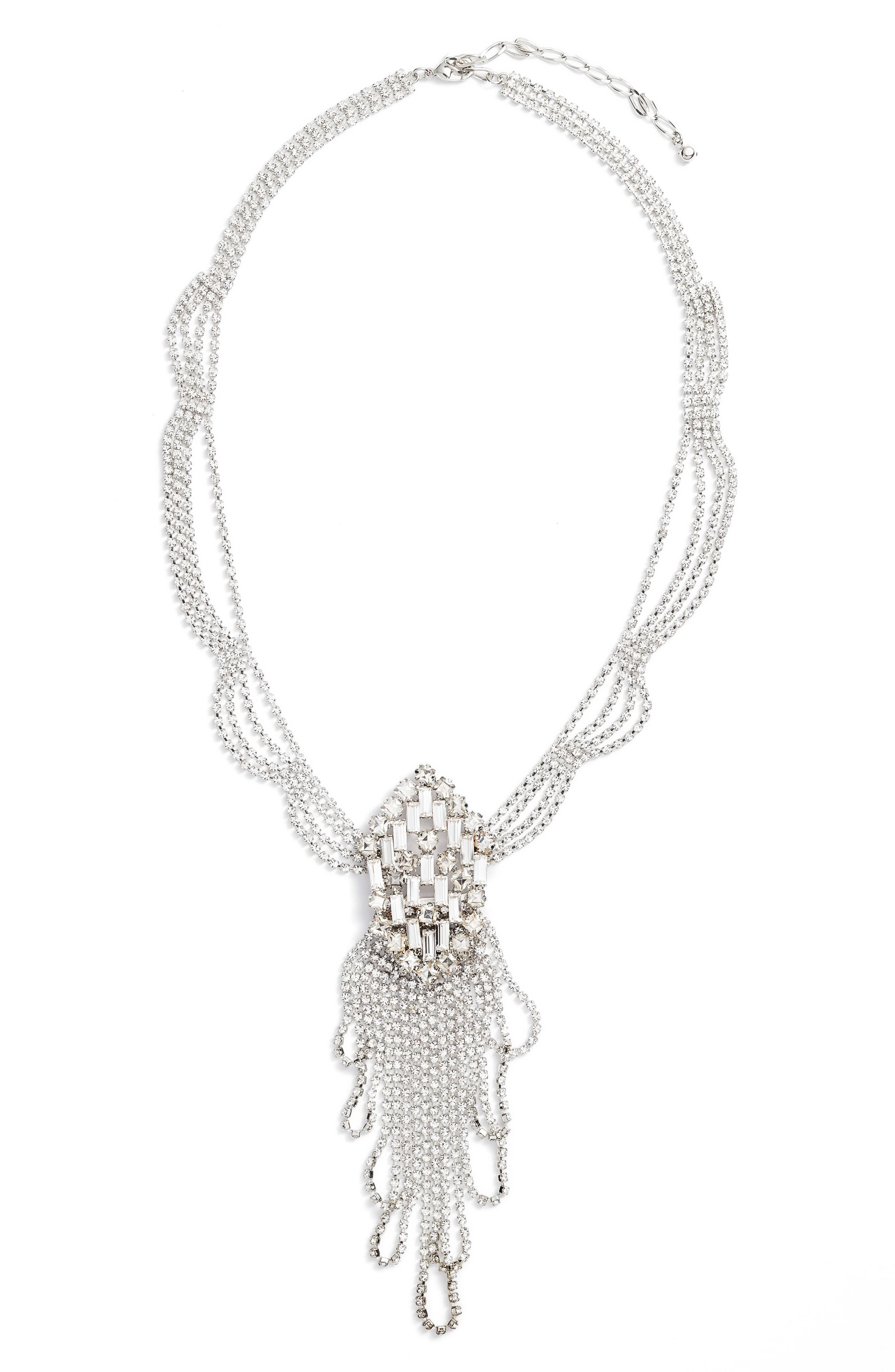 Multi Drape Crystal Necklace,                         Main,                         color, Silver