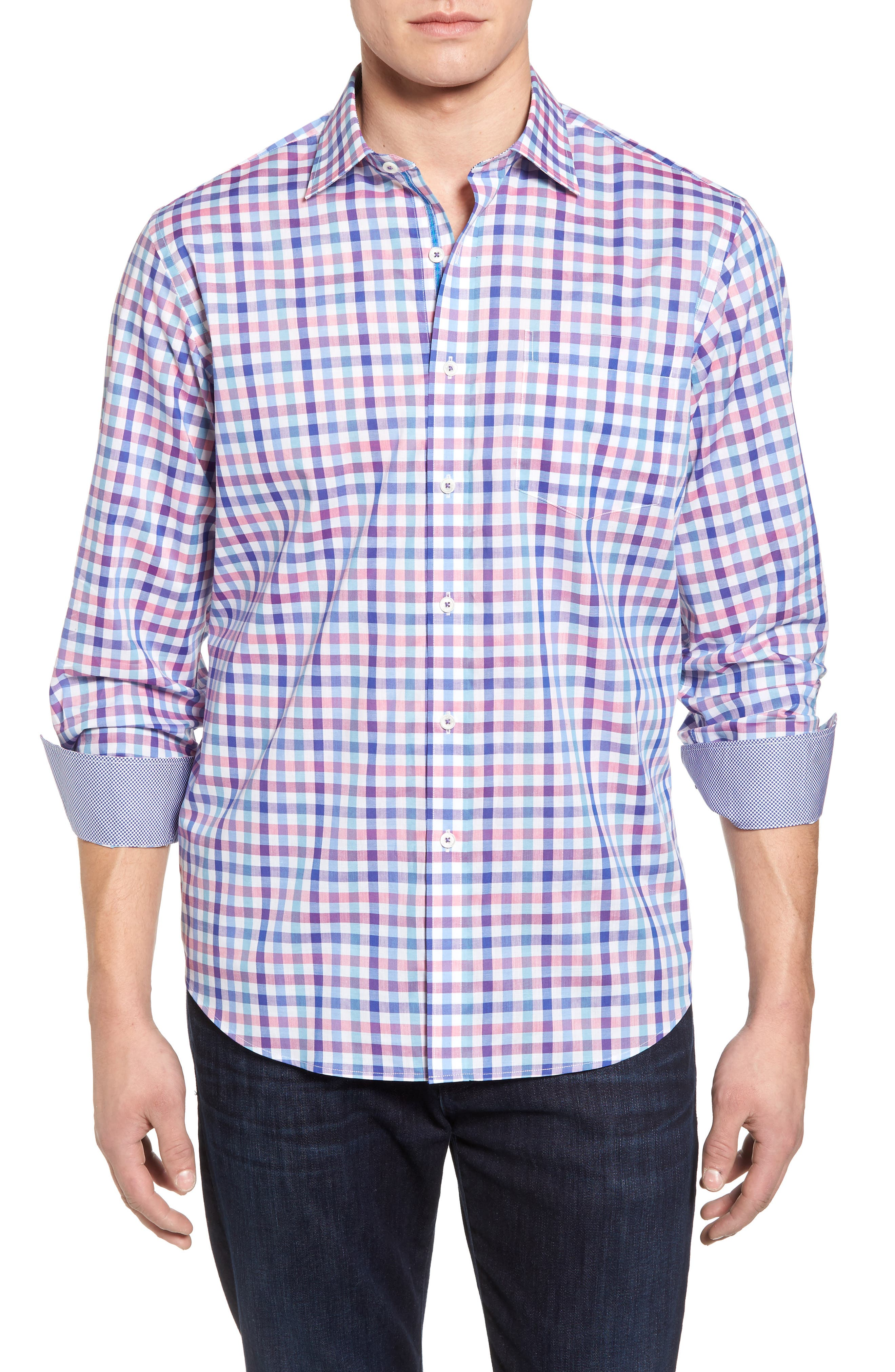 Alternate Image 1 Selected - Bugatchi Classic Fit Check Sport Shirt