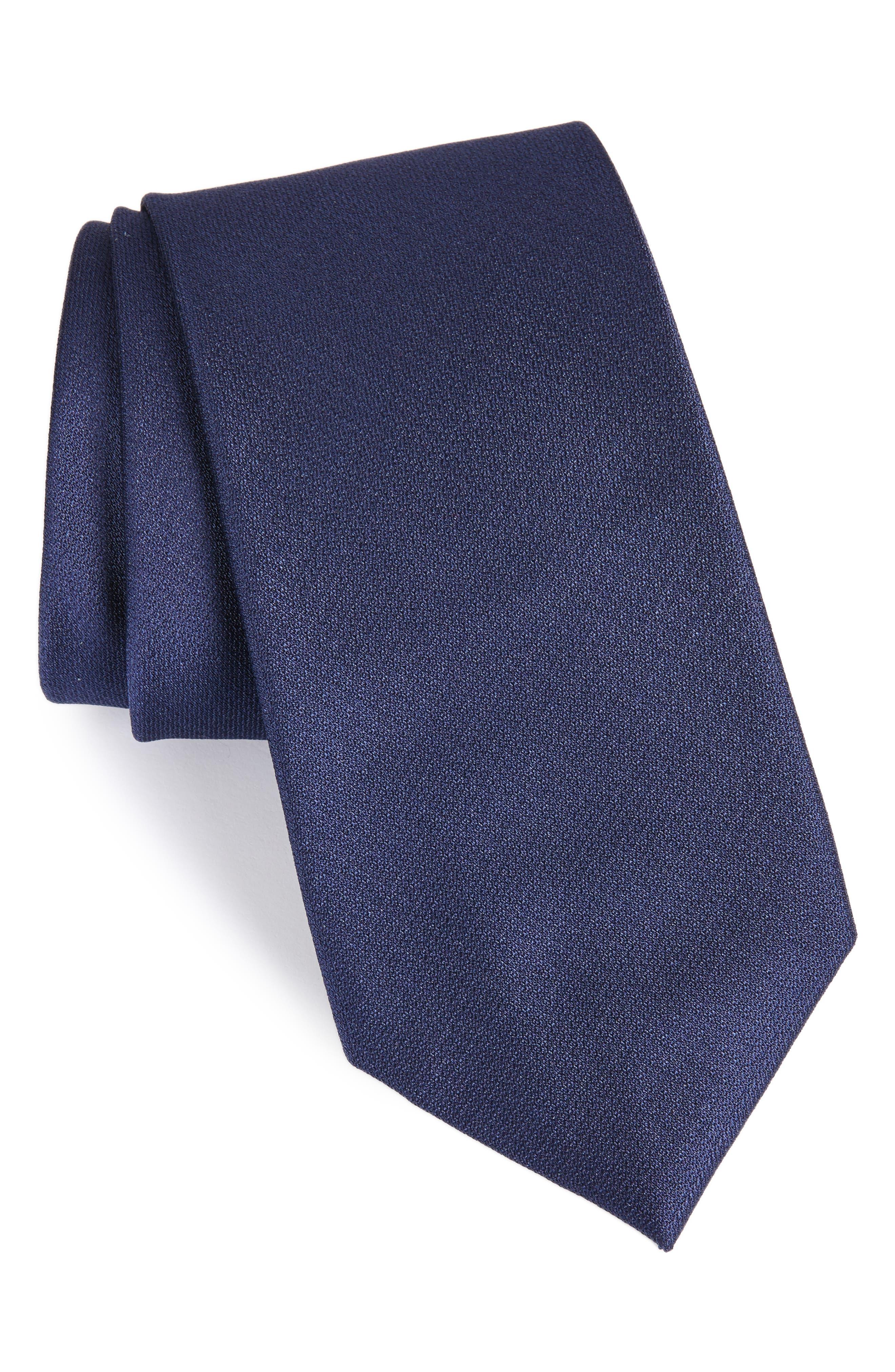 Clara Solid Silk Tie,                         Main,                         color, Navy