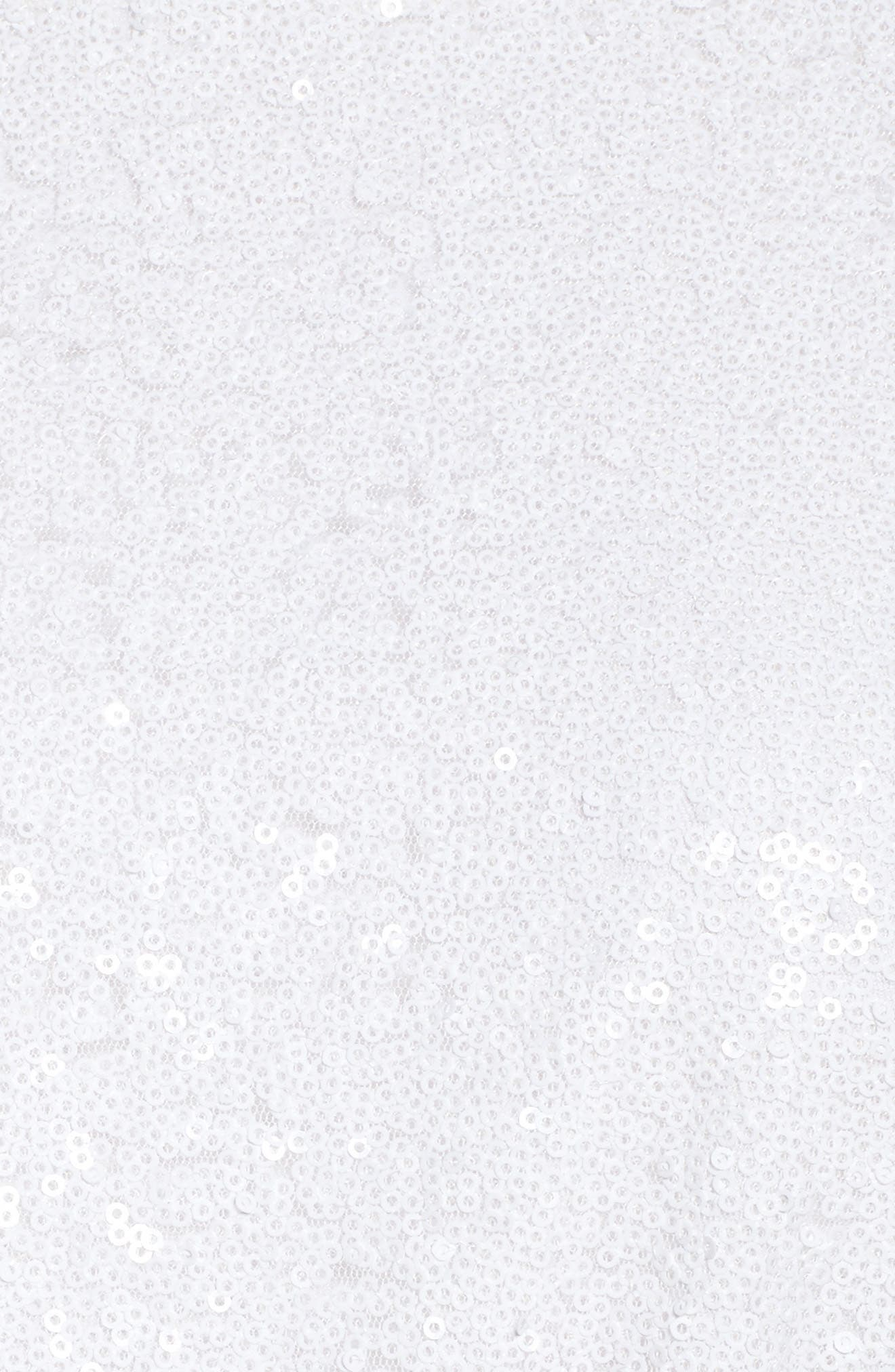 Aria Sequin Skater Dress,                             Alternate thumbnail 5, color,                             Gardenia
