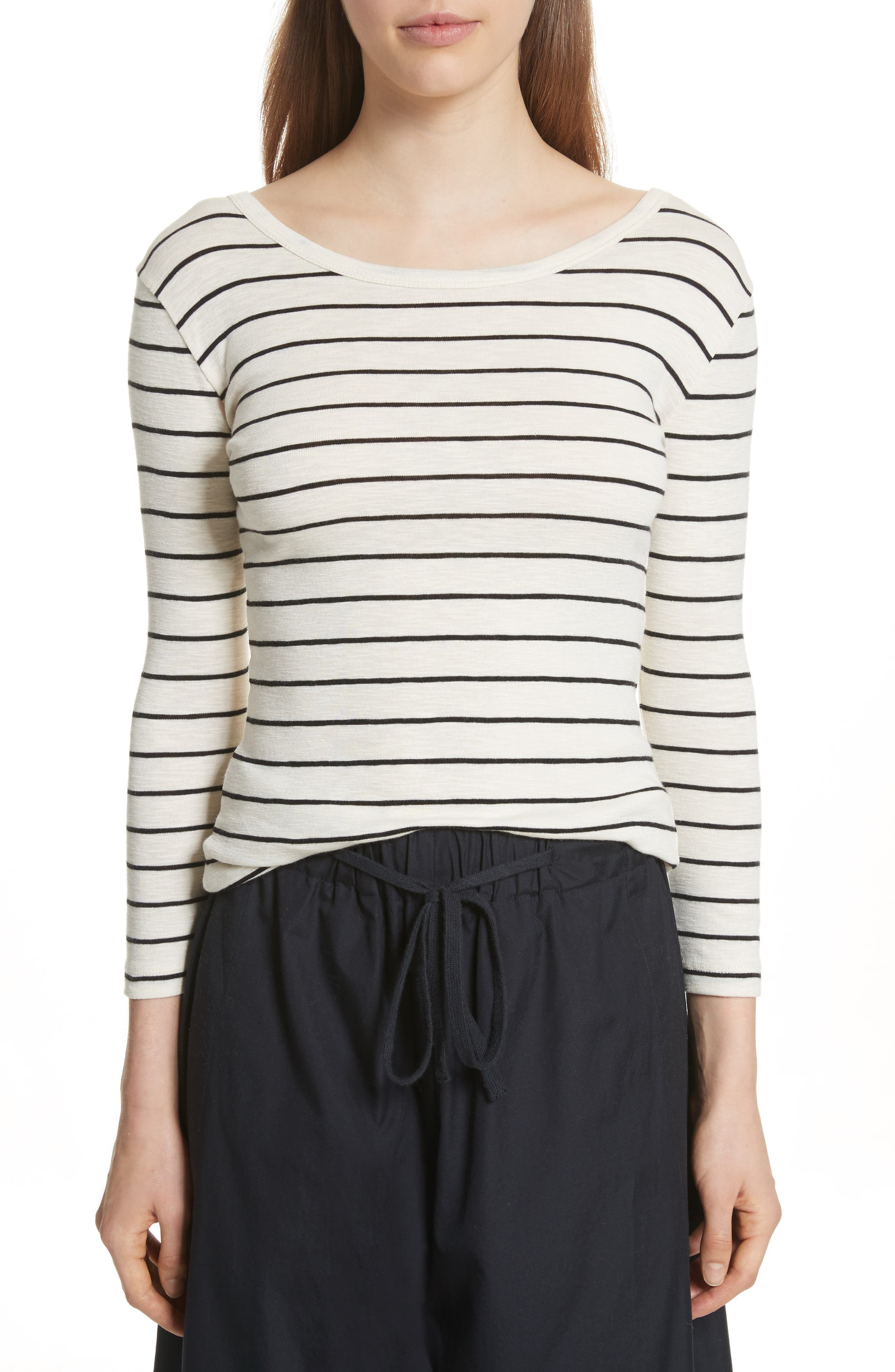 Vince Chalk Stripe Fitted Crewneck Tee