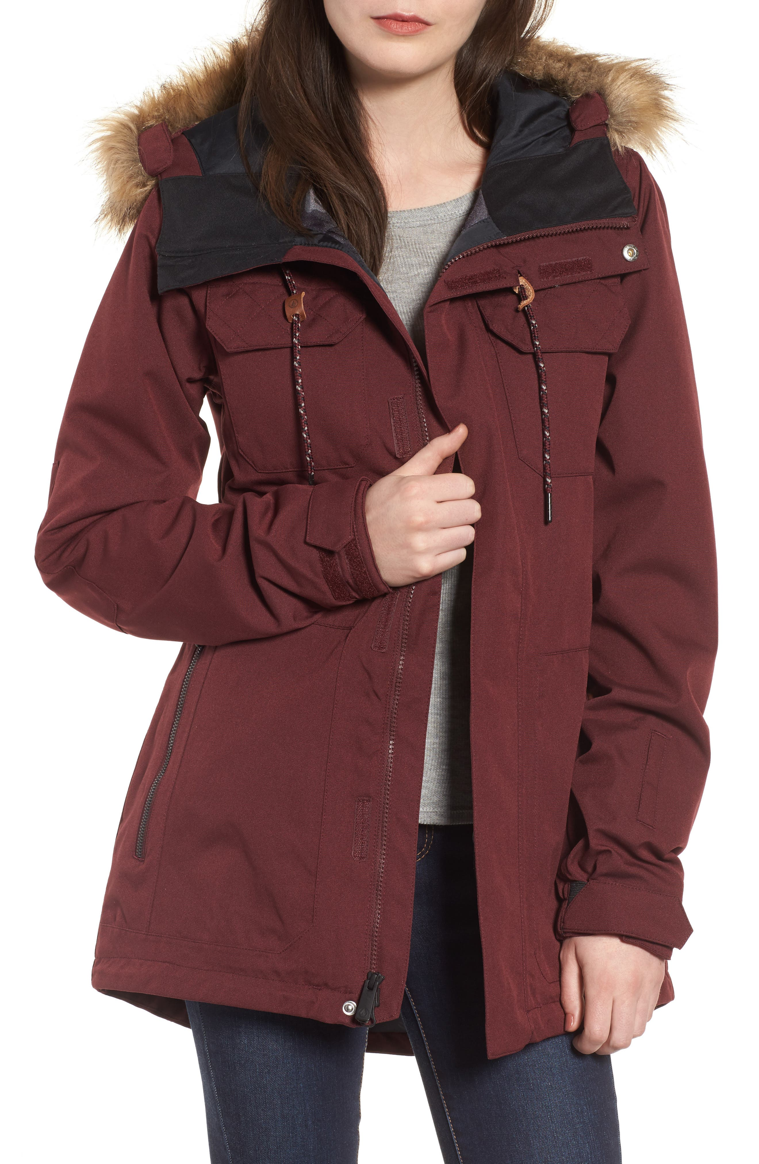 Shadow Faux Fur Trim Insulated Jacket,                         Main,                         color, Brd