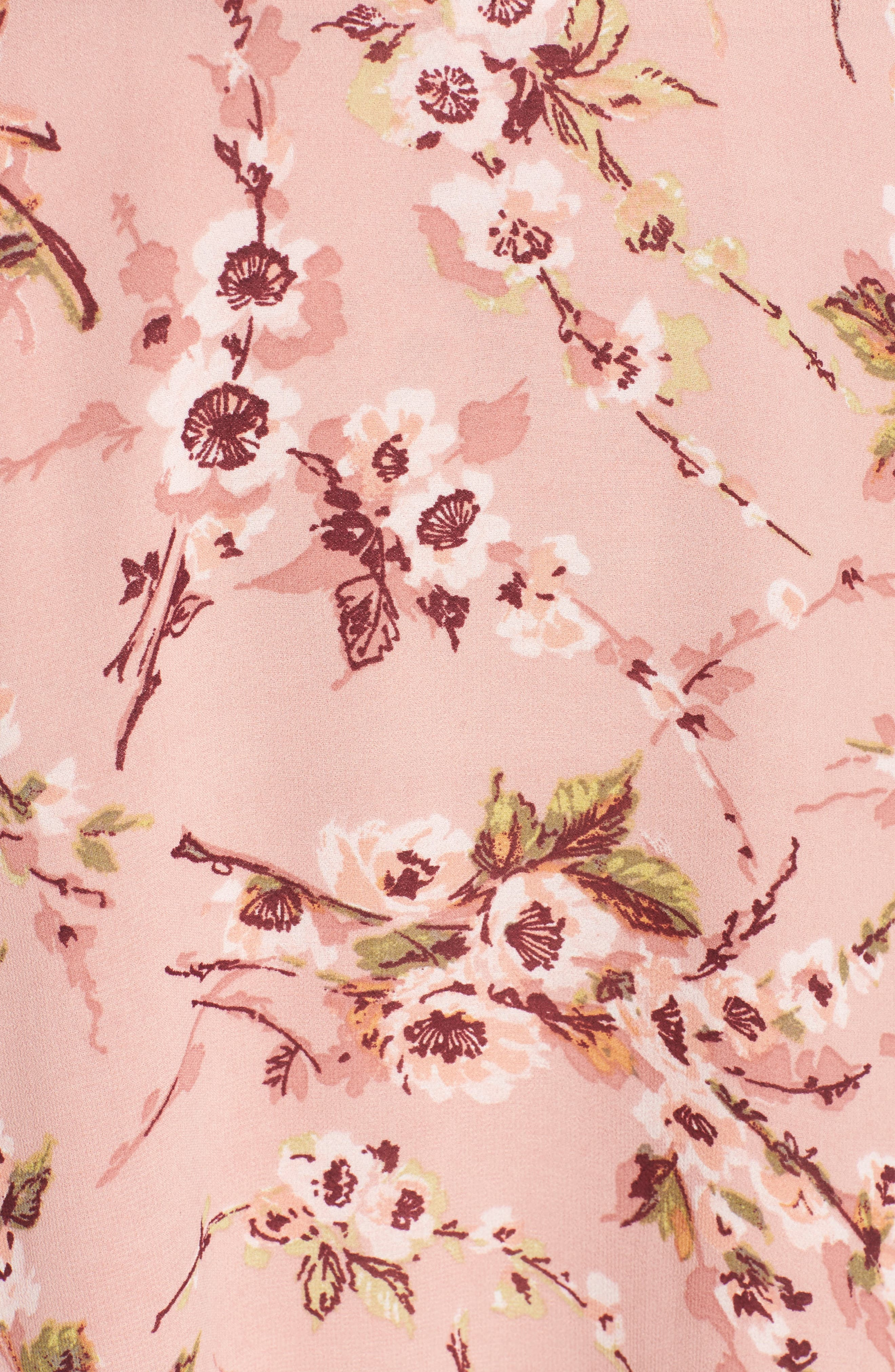 Jenna Asymmetrical Wrap Dress,                             Alternate thumbnail 5, color,                             Pomegranate Floral