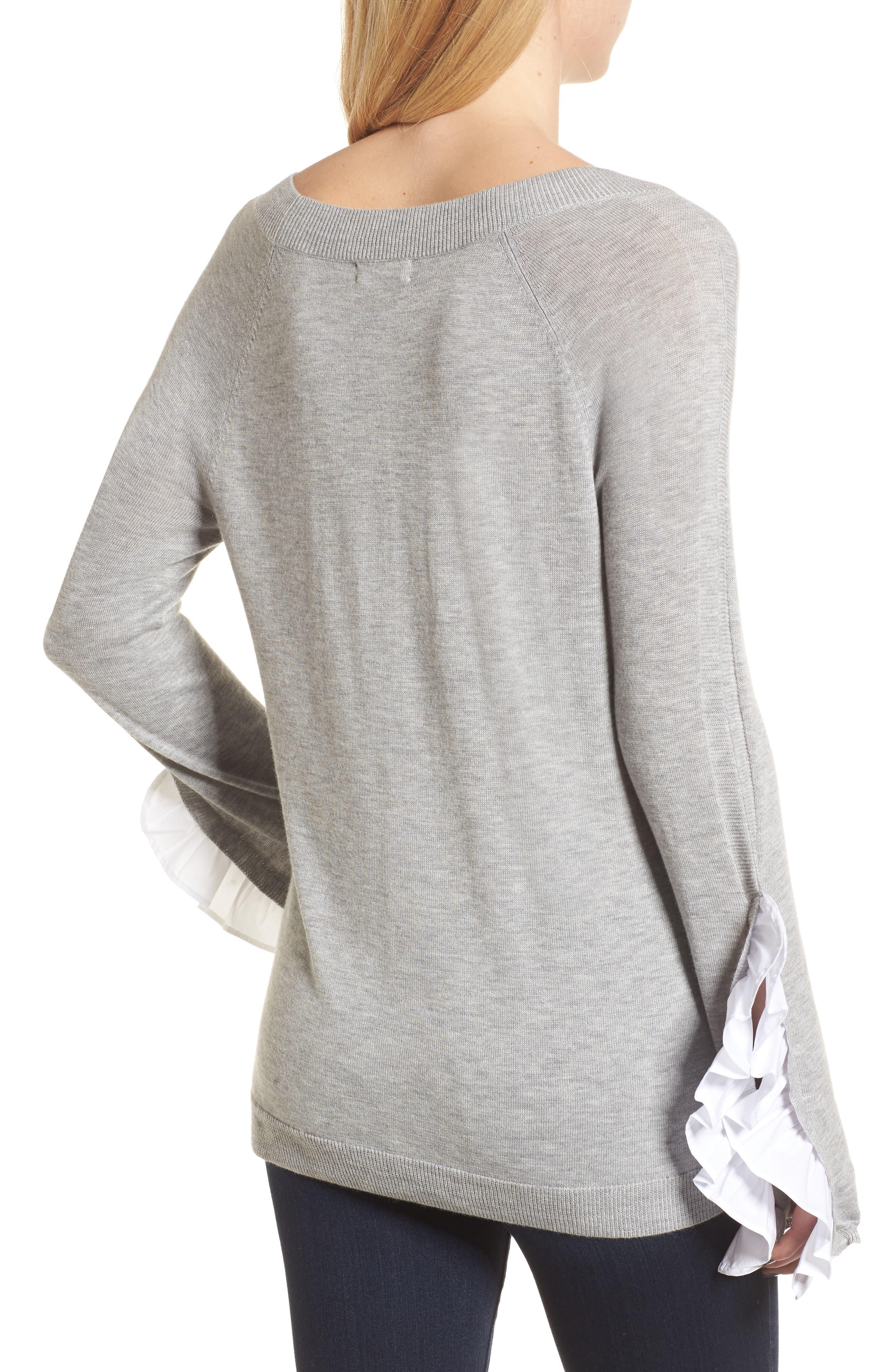 Ruffle Sleeve Sweater,                             Alternate thumbnail 2, color,                             Grey Heather