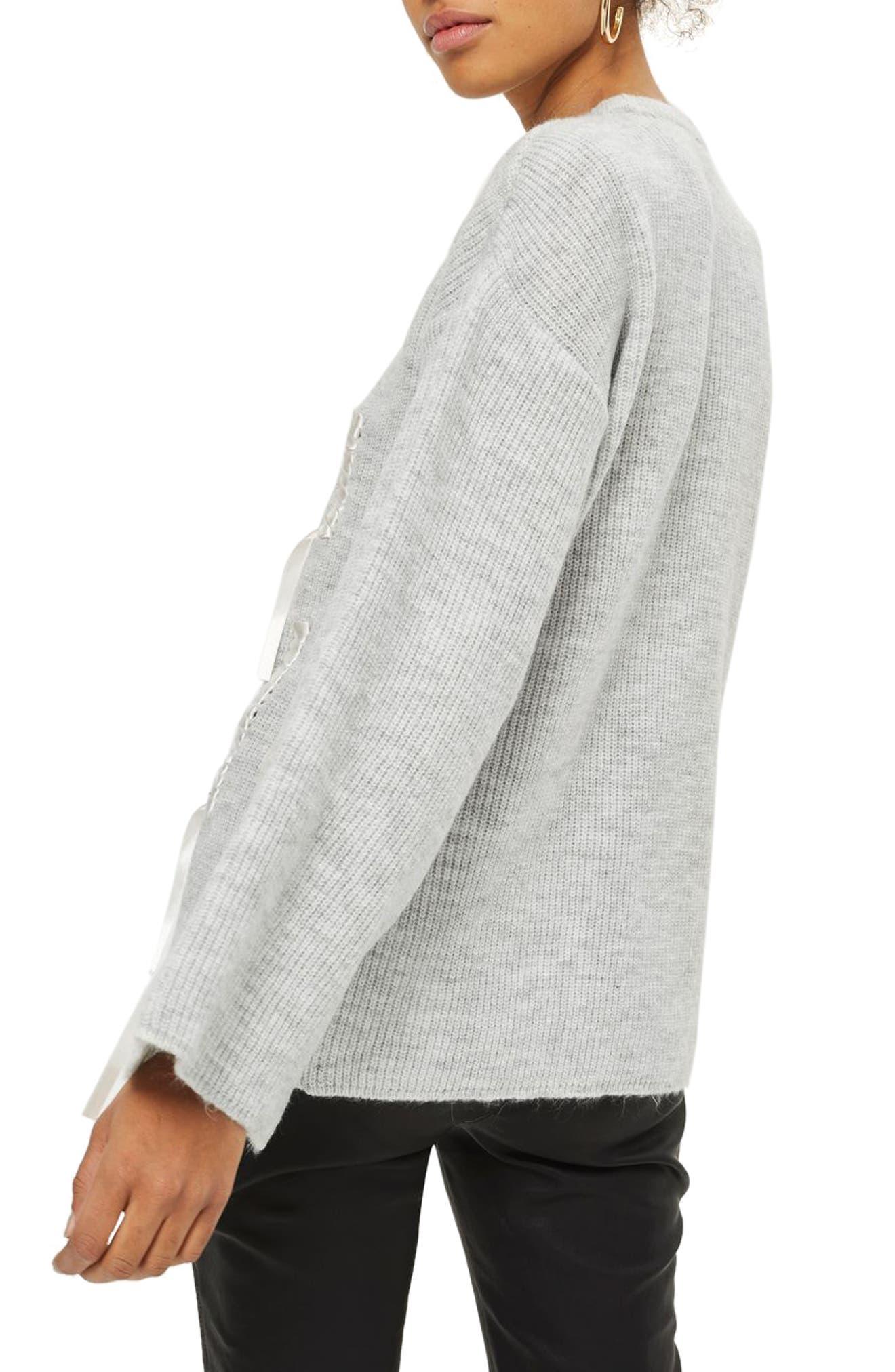 Ribbon Detail Sweater,                             Alternate thumbnail 3, color,                             Grey Marl