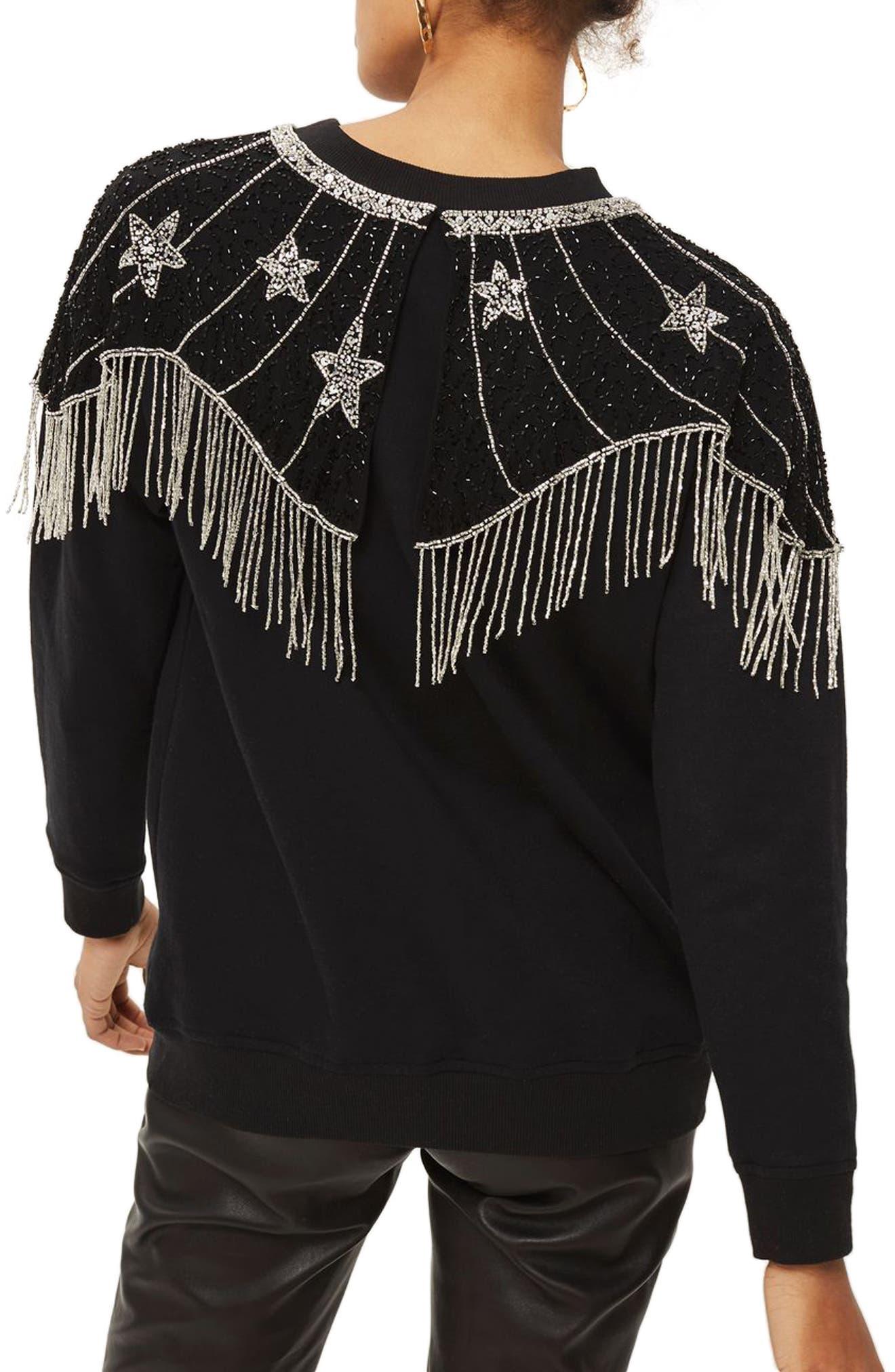 Star Cape Embellished Sweatshirt,                             Alternate thumbnail 3, color,                             Black Multi