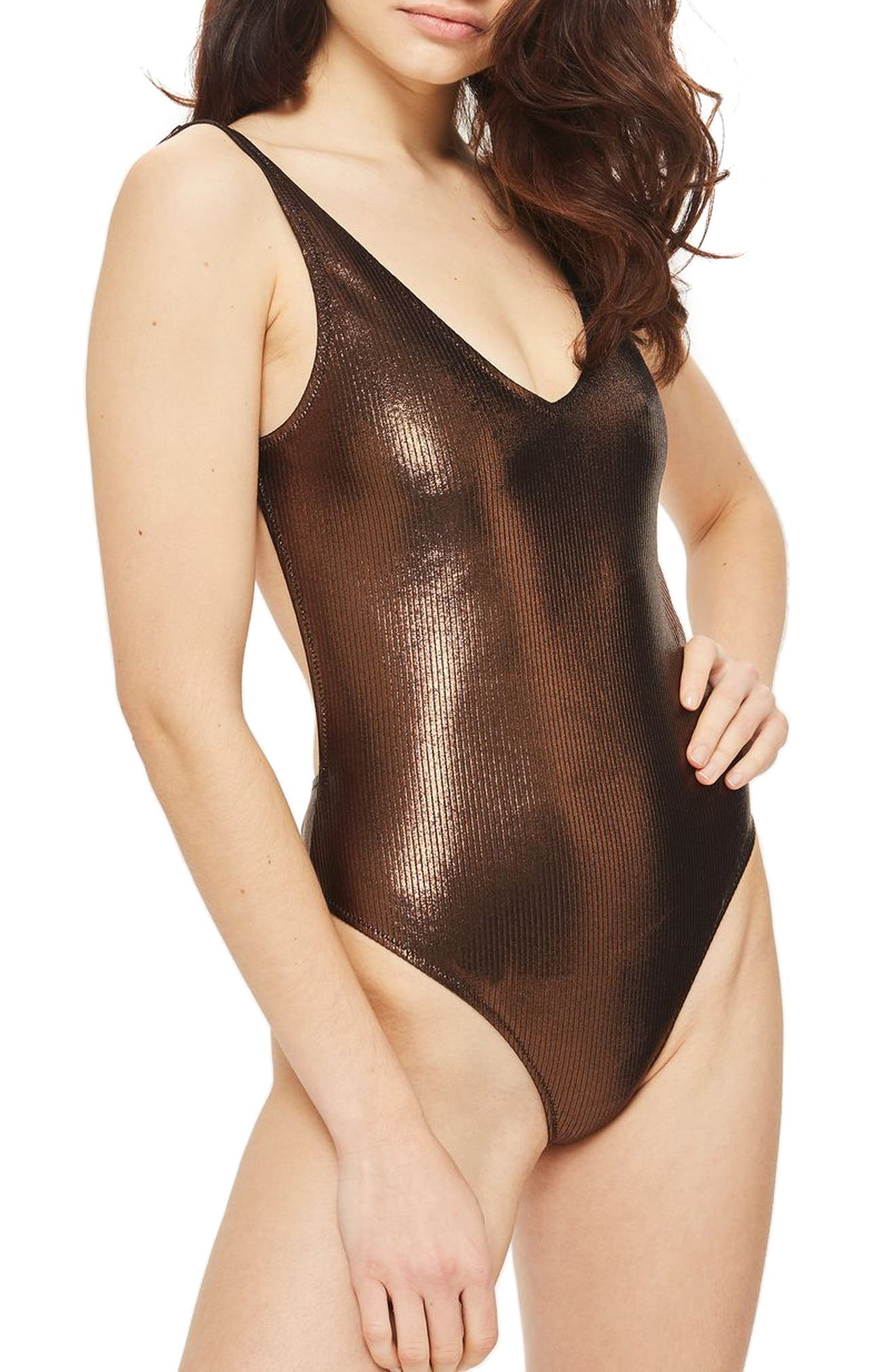 Metallic Ribbed One-Piece Swimsuit,                         Main,                         color, Bronze
