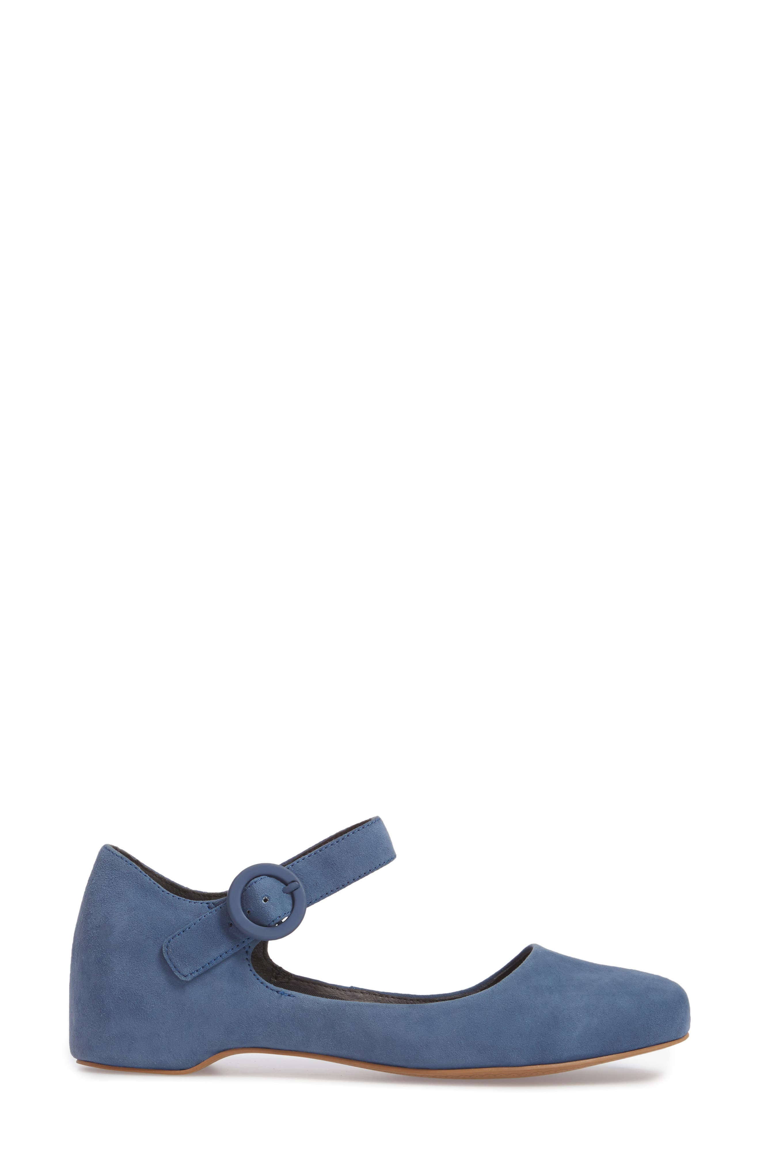 Serena Mary Jane Flat,                             Alternate thumbnail 3, color,                             Bright Blue Suede