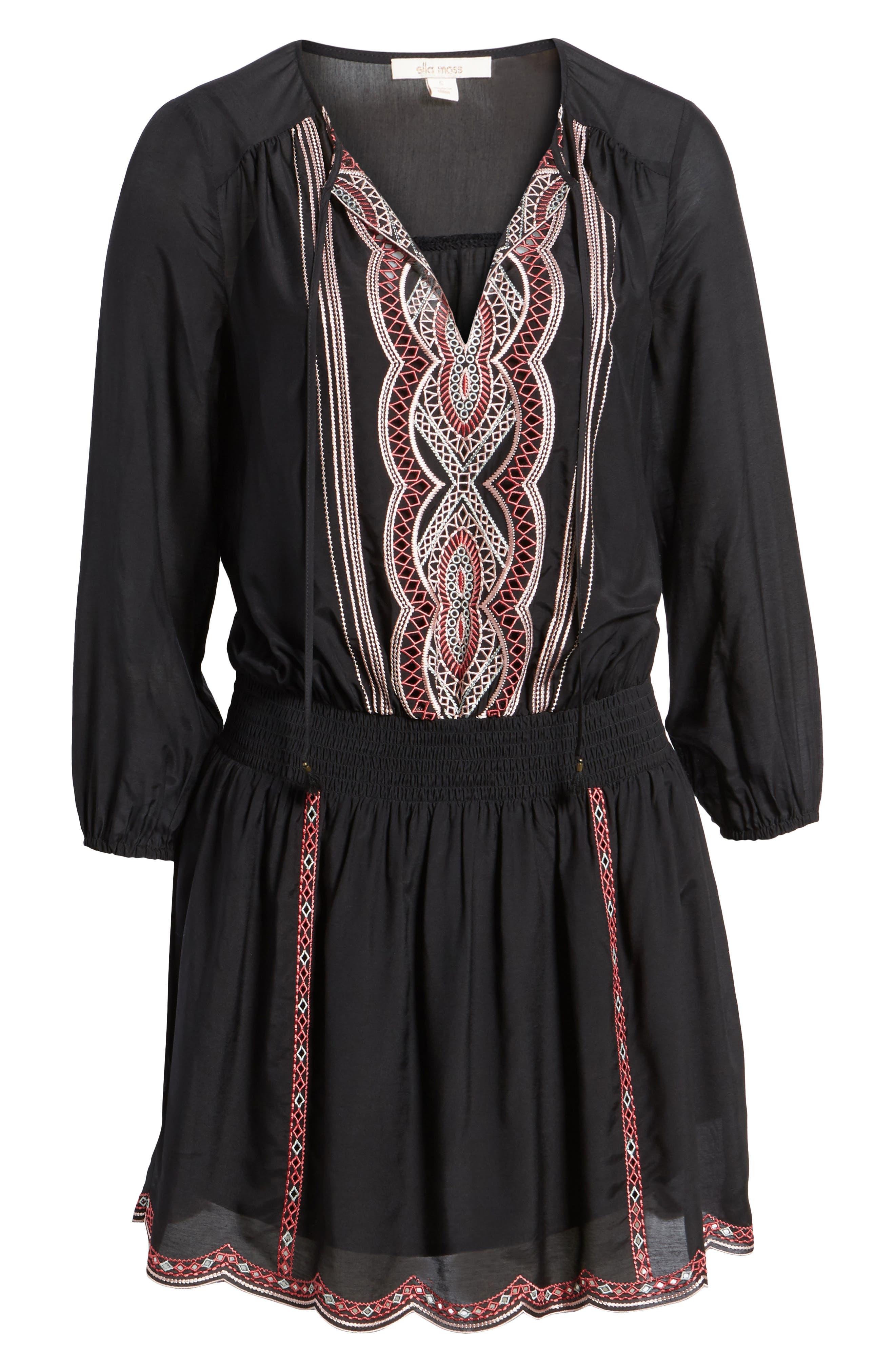 Embroidered Blouson Minidress,                             Alternate thumbnail 6, color,                             Black