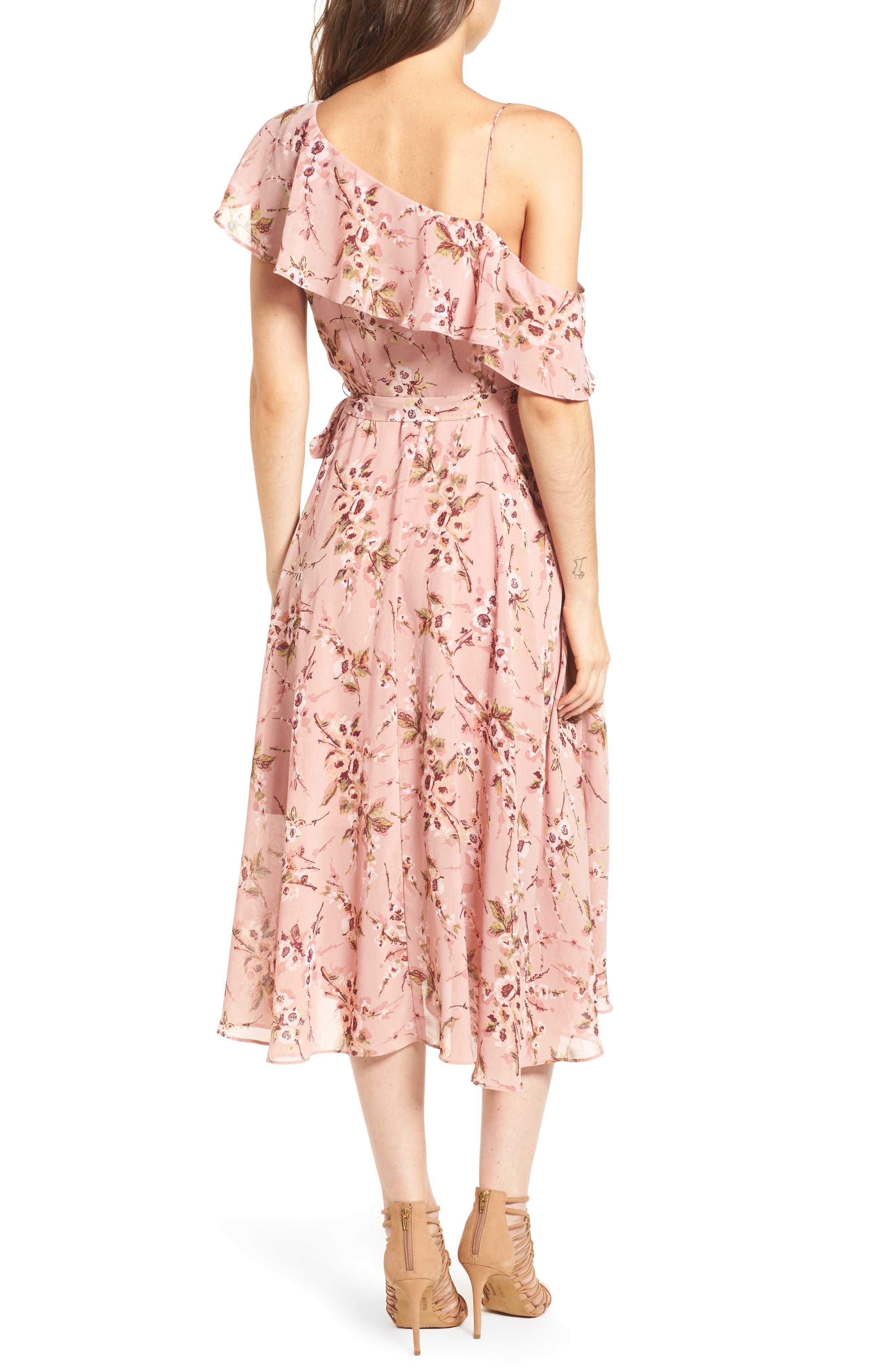 Jenna Asymmetrical Wrap Dress,                             Alternate thumbnail 2, color,                             Pomegranate Floral