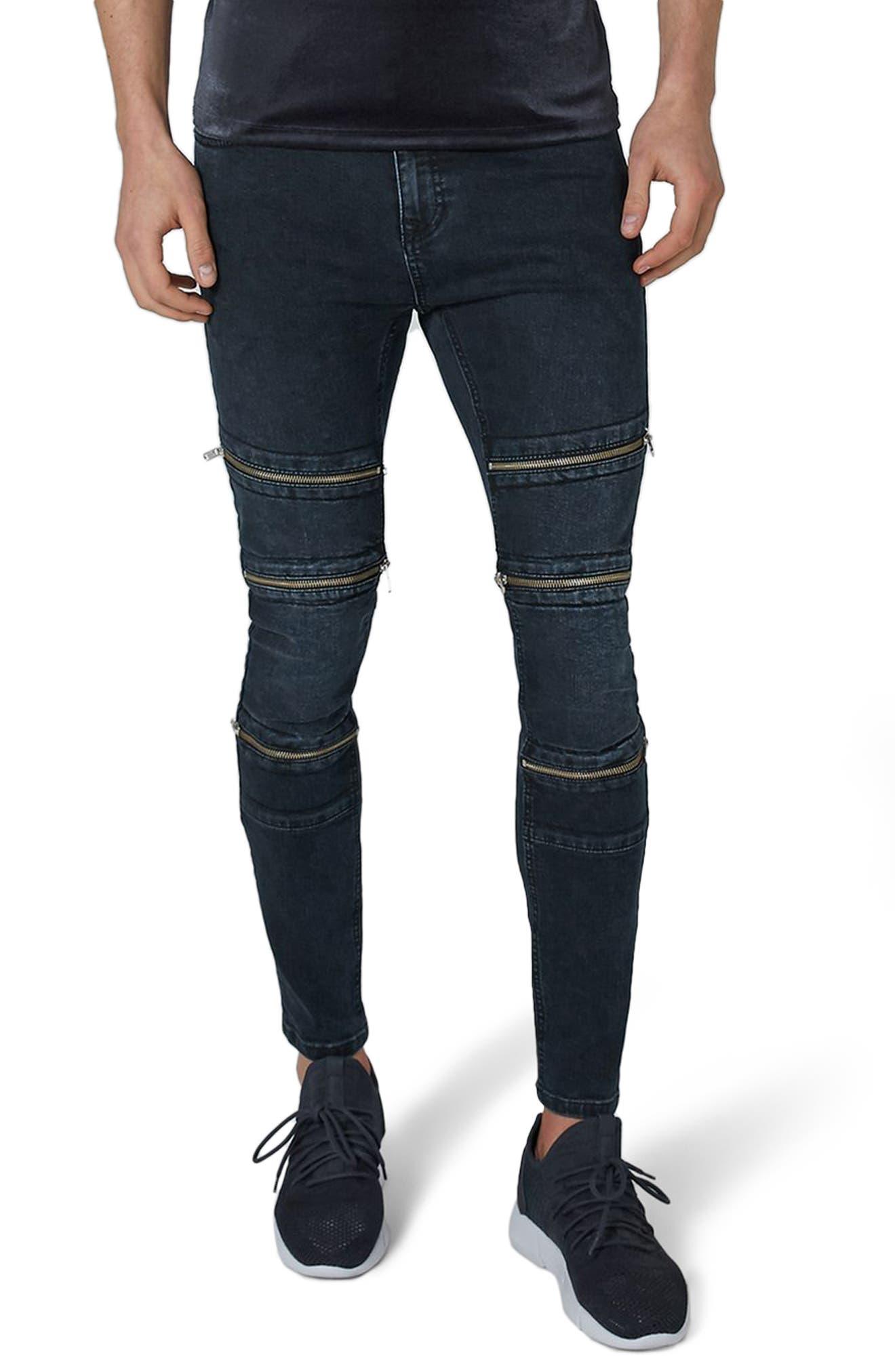 Multi Zip Spray-On Jeans,                         Main,                         color, Blue