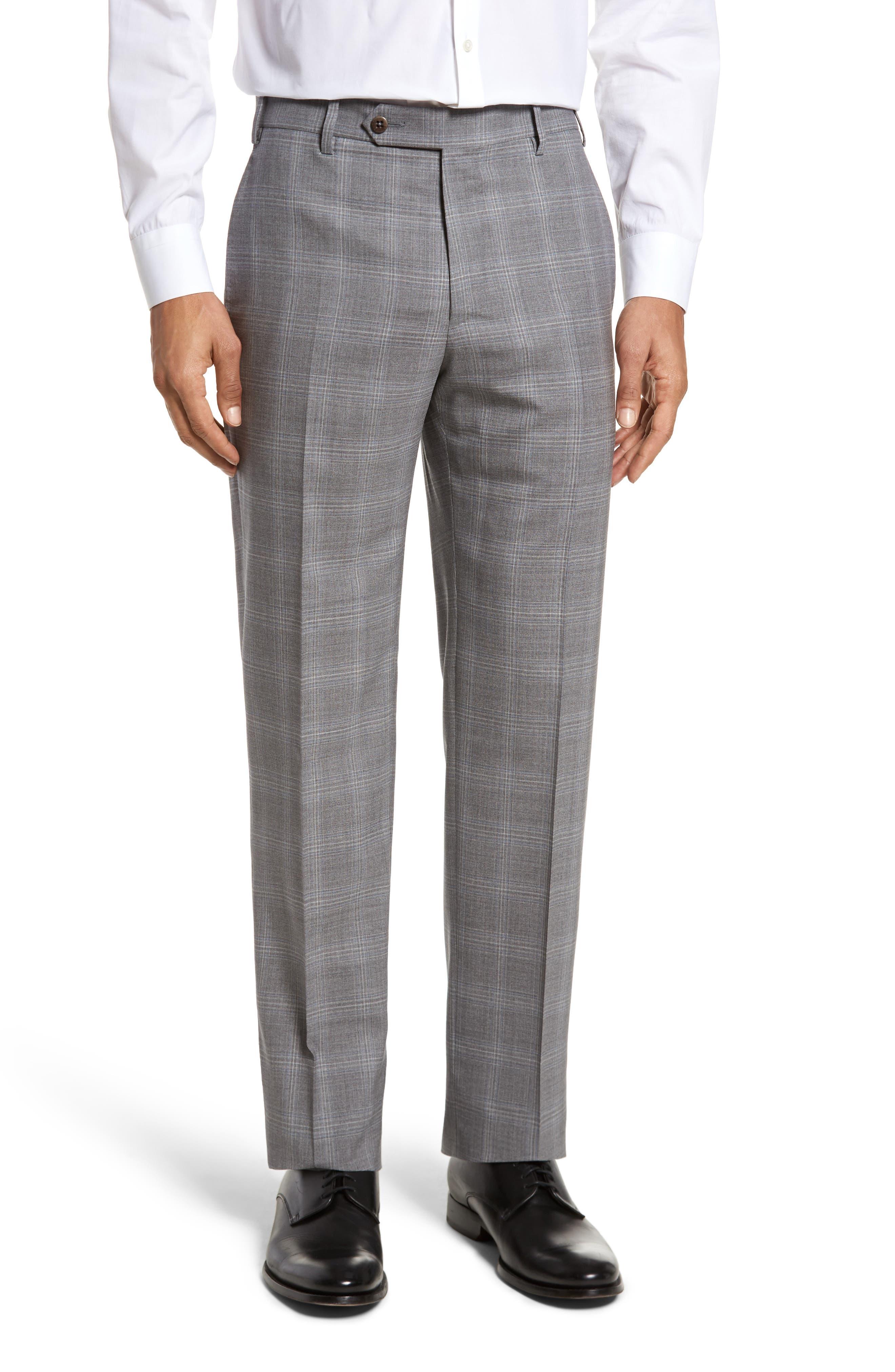 Devon Flat Front Plaid Wool Trousers,                             Main thumbnail 1, color,                             Light Grey