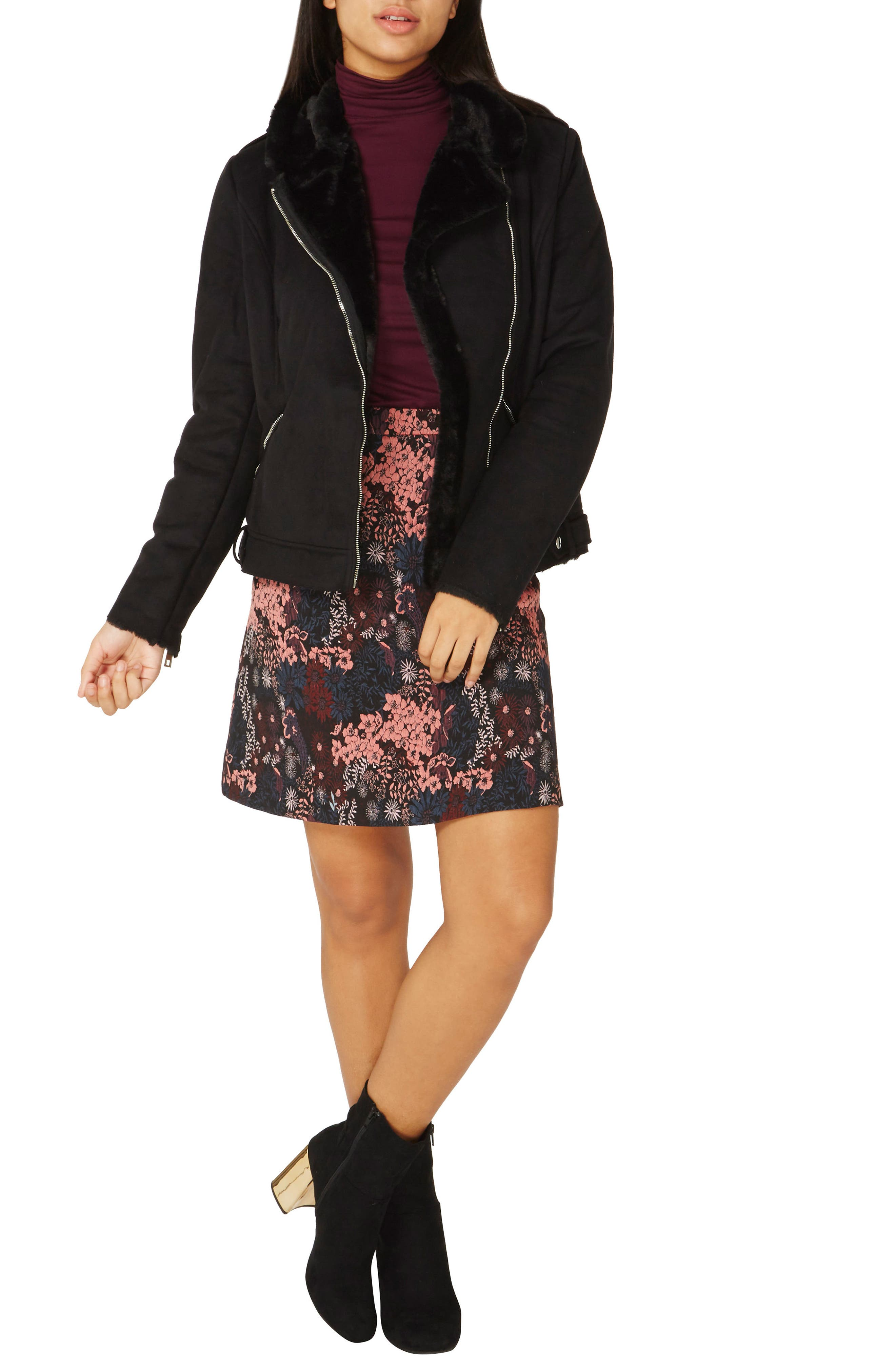 Alternate Image 3  - Dorothy Perkins Faux Suede Biker Jacket with Faux Shearling Trim