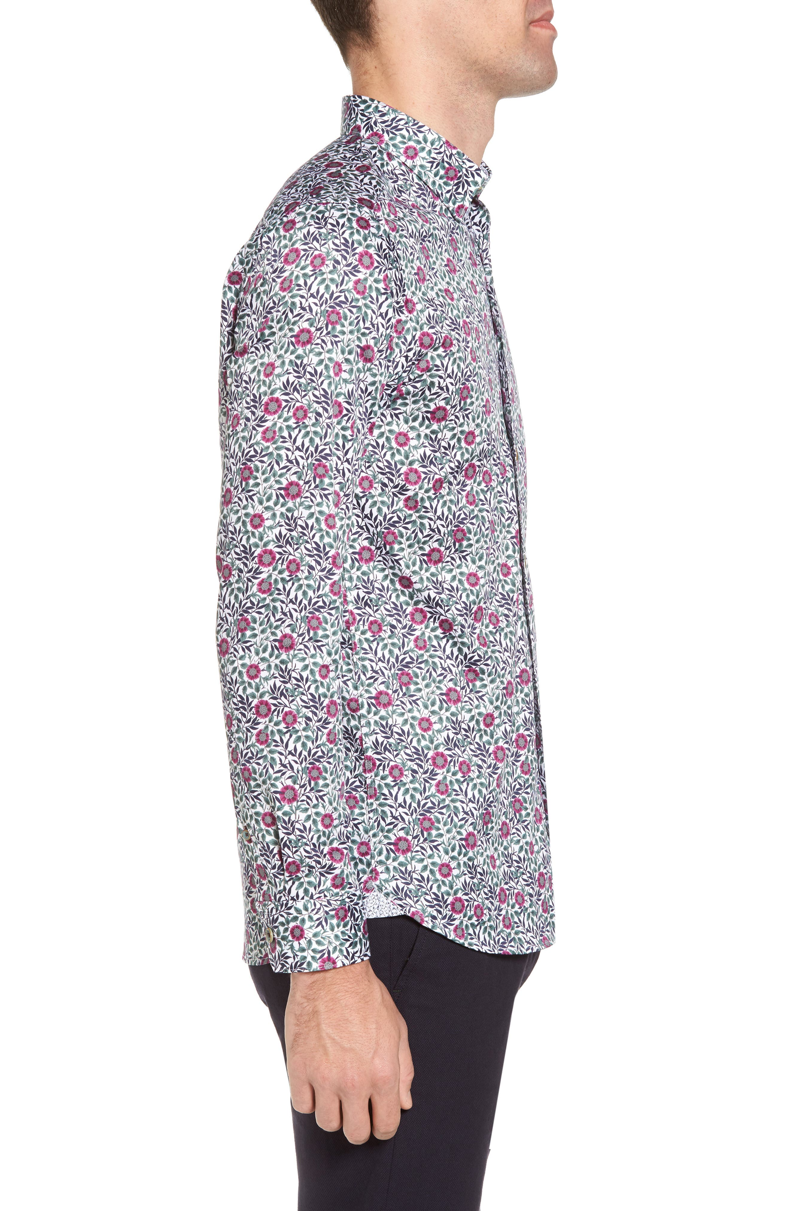 Orense Floral Print Slim Fit Shirt,                             Alternate thumbnail 4, color,                             Green