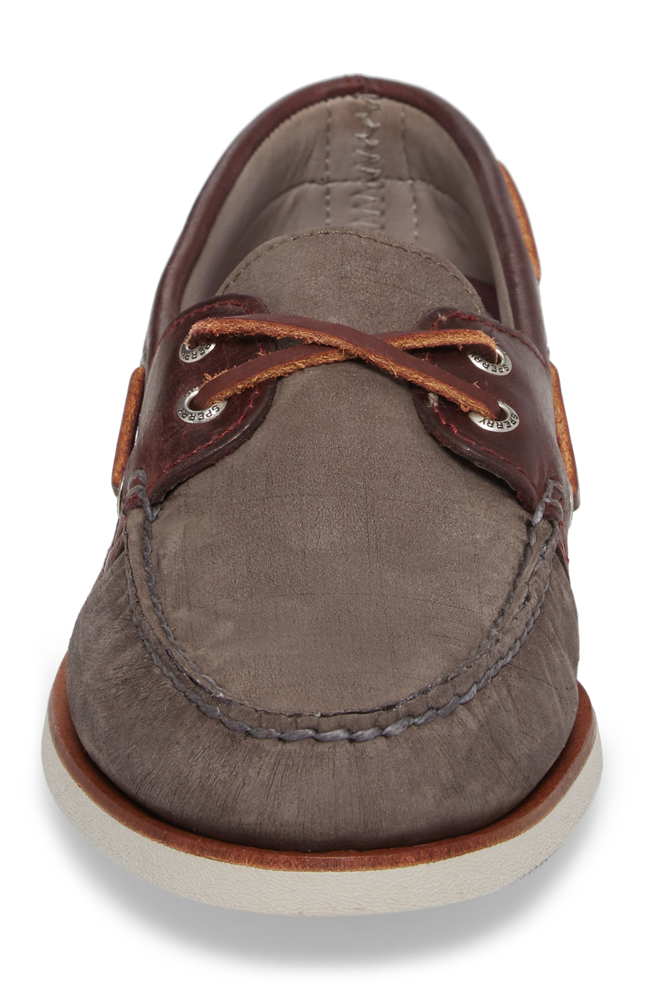 Gold Cup - Authentic Original Boat Shoe,                             Alternate thumbnail 4, color,                             Grey/ Burgundy Leather Nubuck