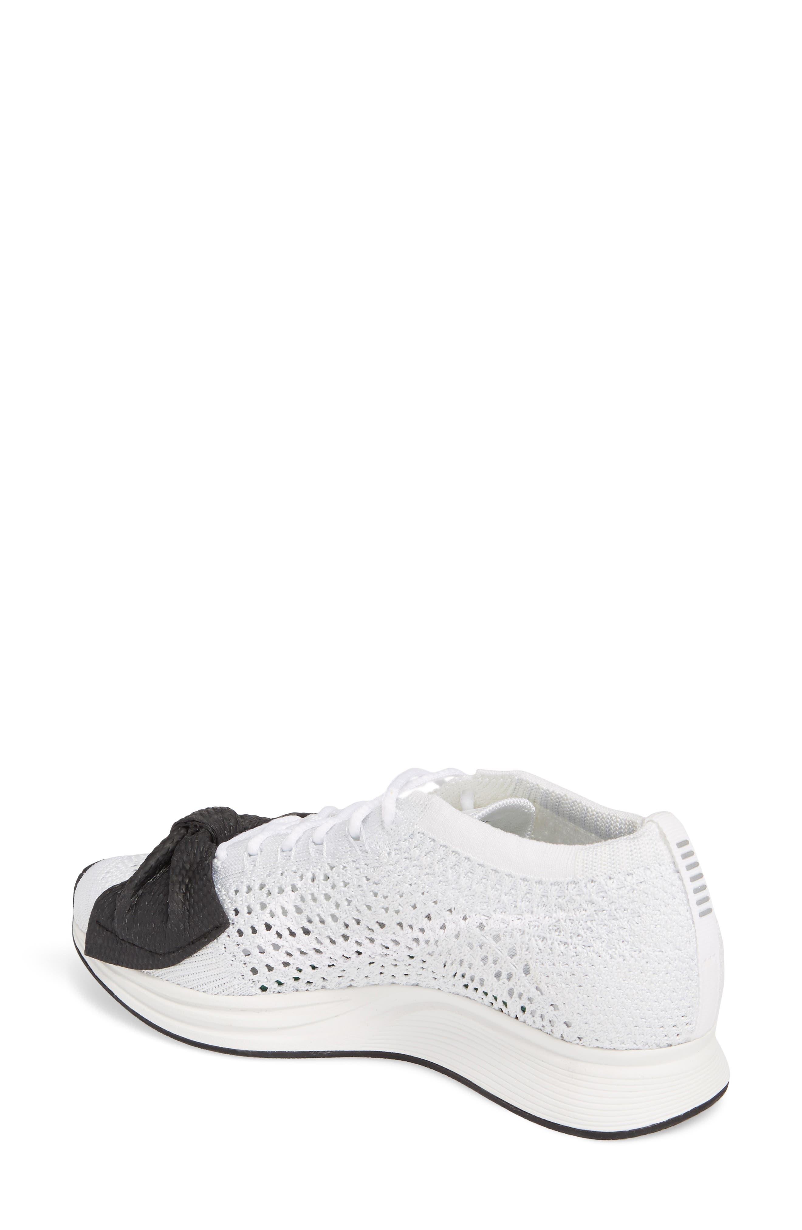 x Nike Bow Flyknit Racer Sneaker,                             Alternate thumbnail 2, color,                             White