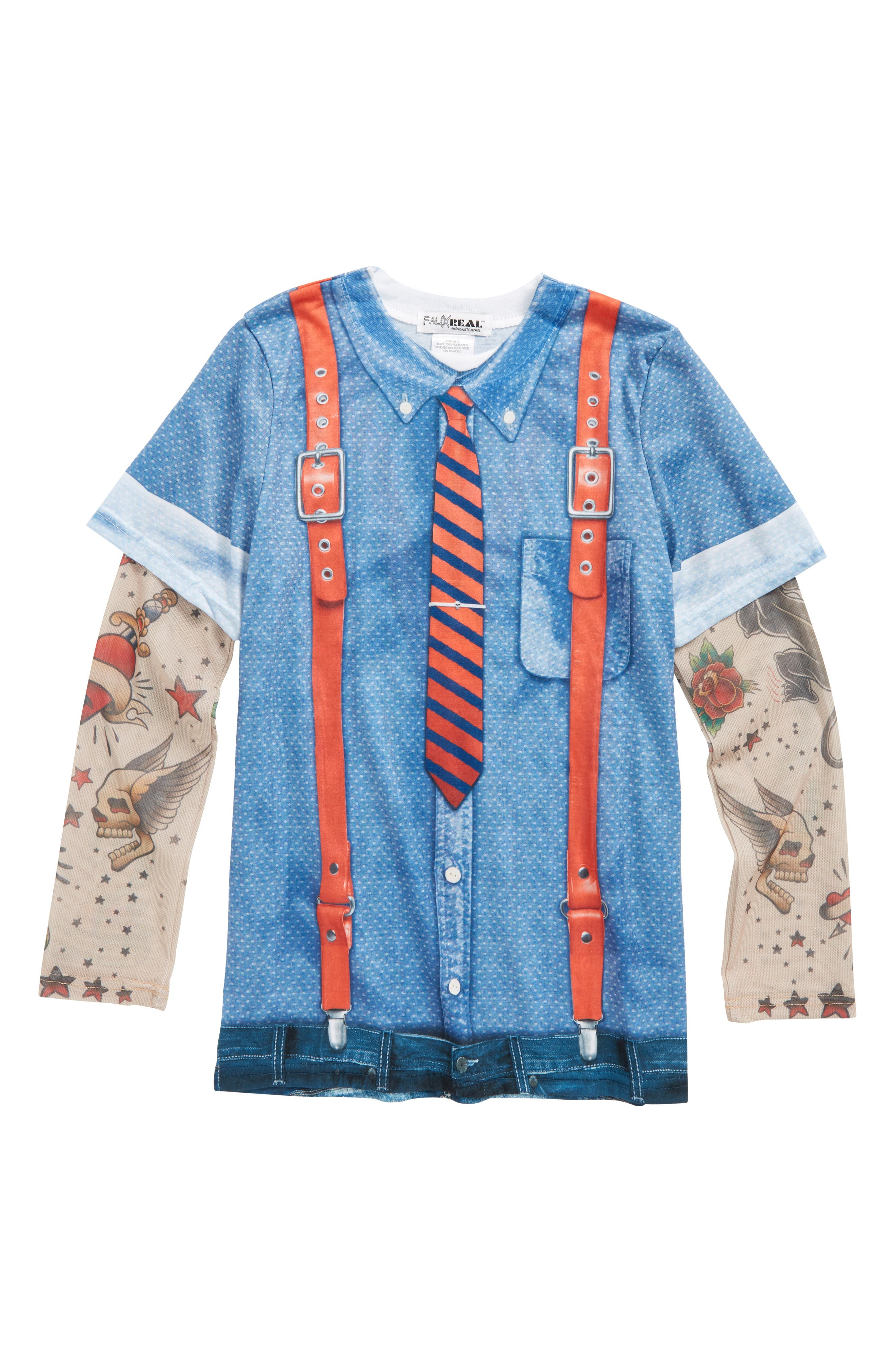 Hipster Tie & Suspenders T-Shirt with Tattoo Print Sleeves,                         Main,                         color, Blue/ Red