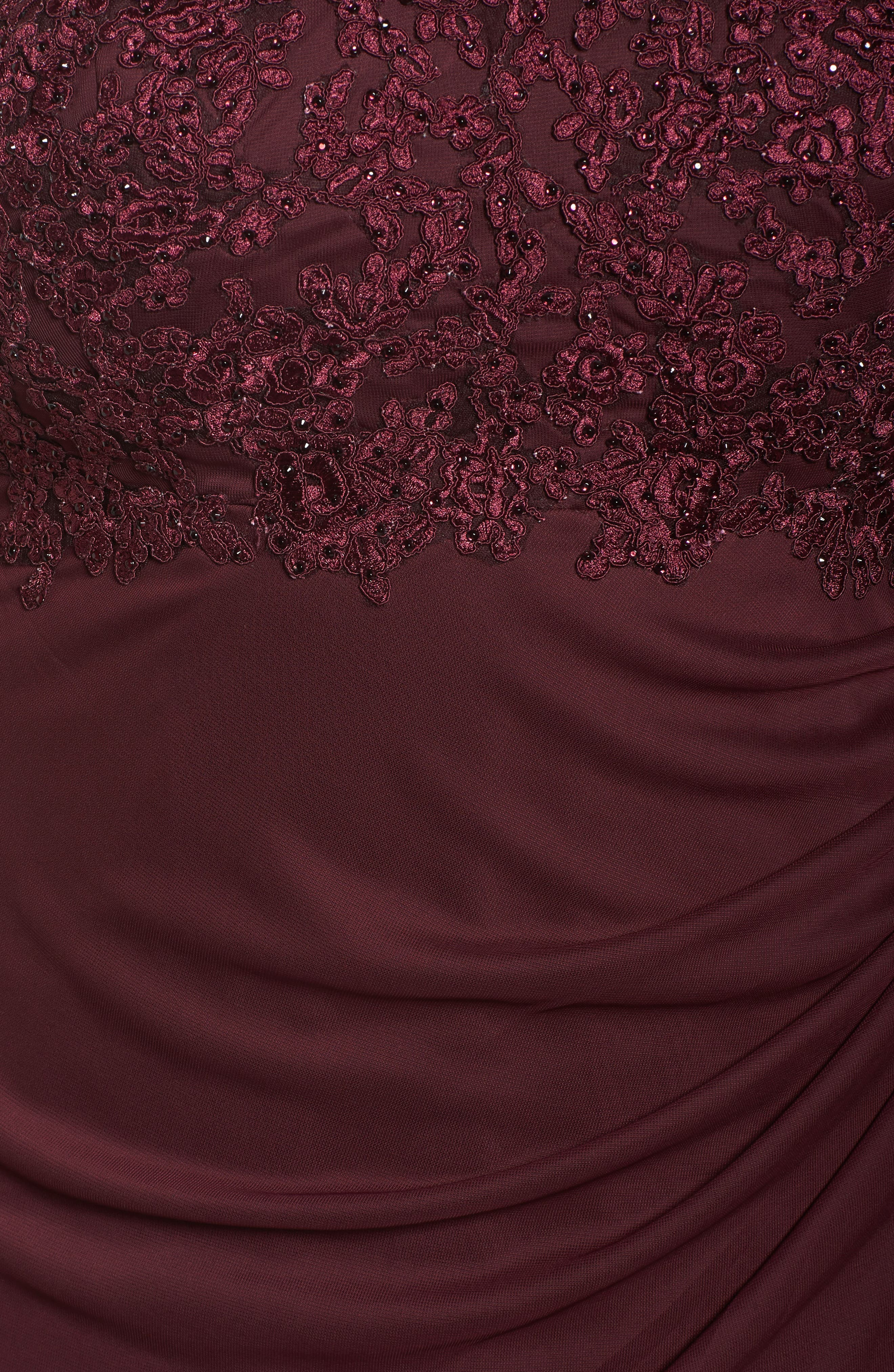 Embellished Ruched Jersey Gown,                             Alternate thumbnail 5, color,                             Wine
