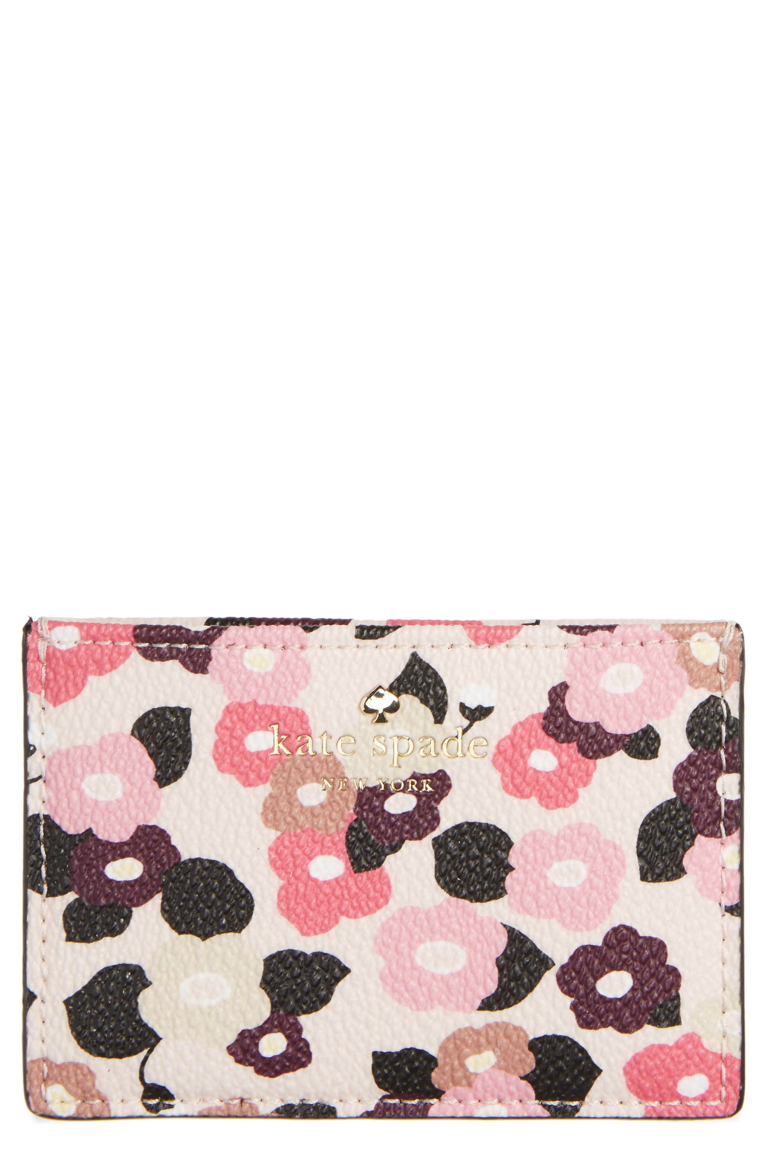 hyde lane floral faux leather card holder,                             Main thumbnail 1, color,                             Rose Dew