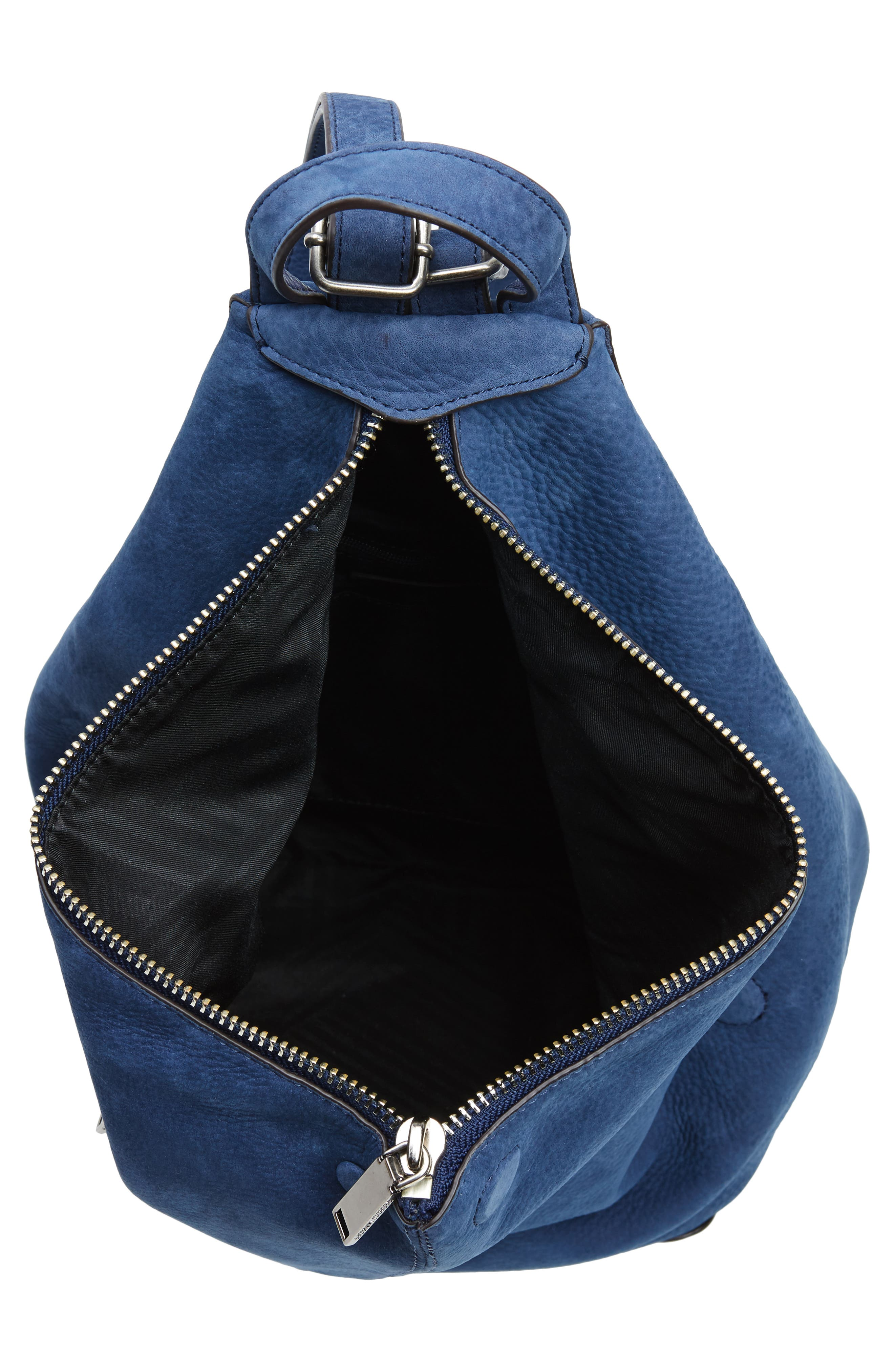 Jamie Nubuck Leather Backpack,                             Alternate thumbnail 4, color,                             True Navy