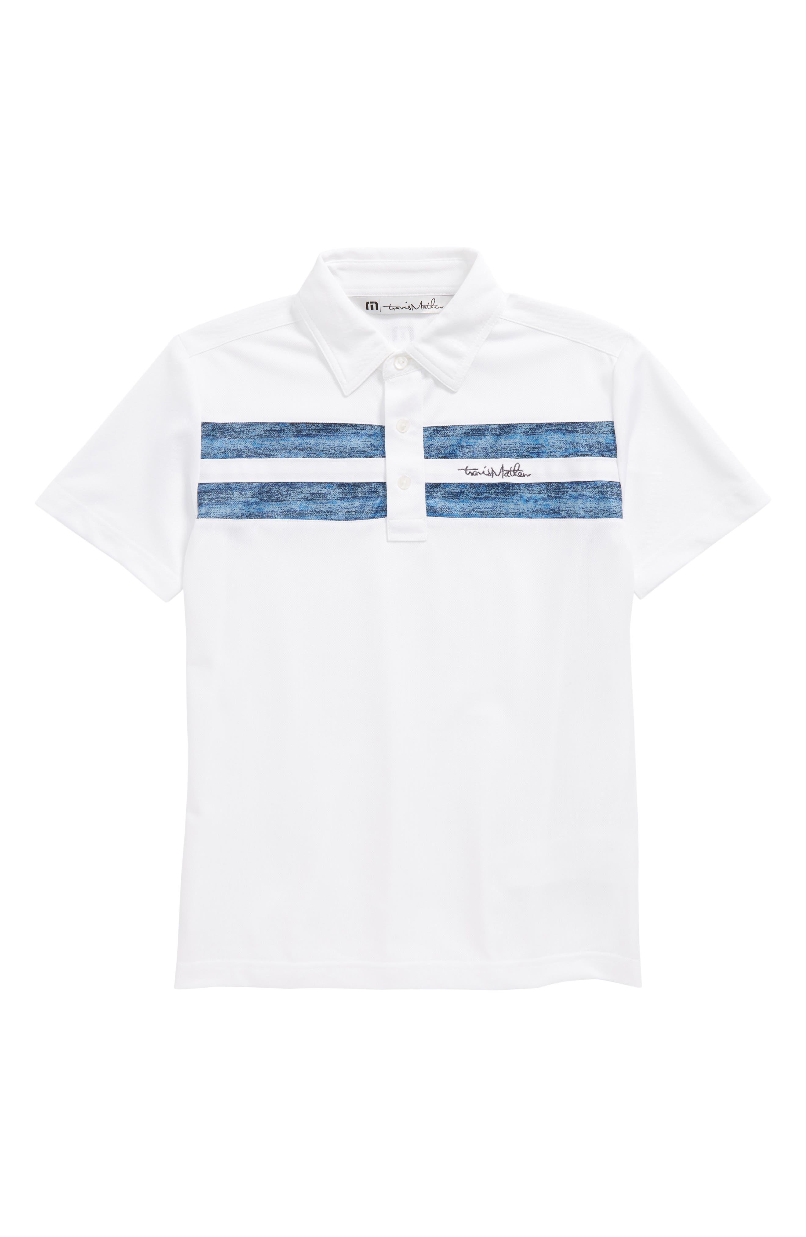 Aaron Stripe Polo,                         Main,                         color, White