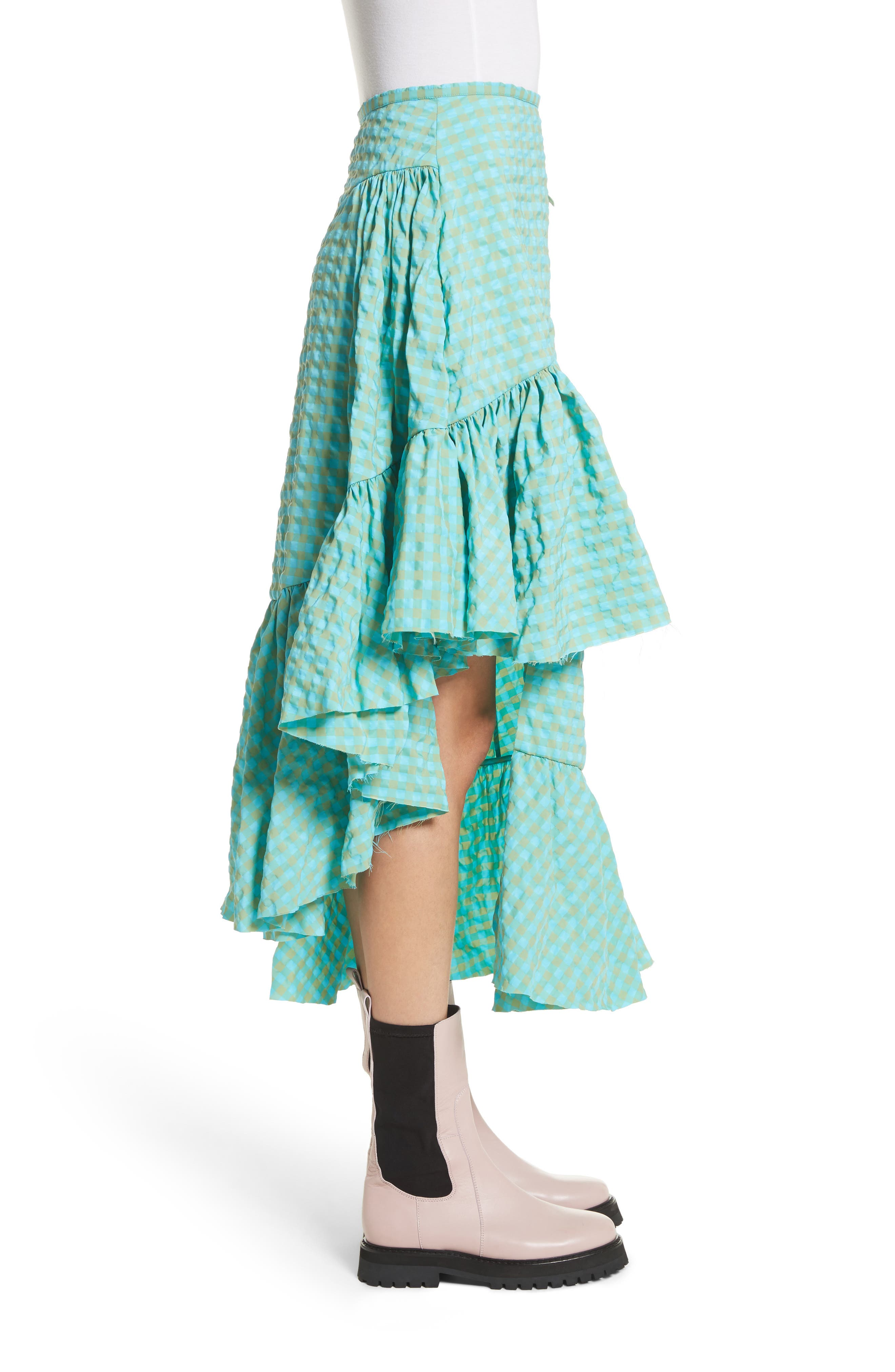Marques'Almeida Long Asymmetrical Frill Skirt,                             Alternate thumbnail 3, color,                             Turquoise Gingham