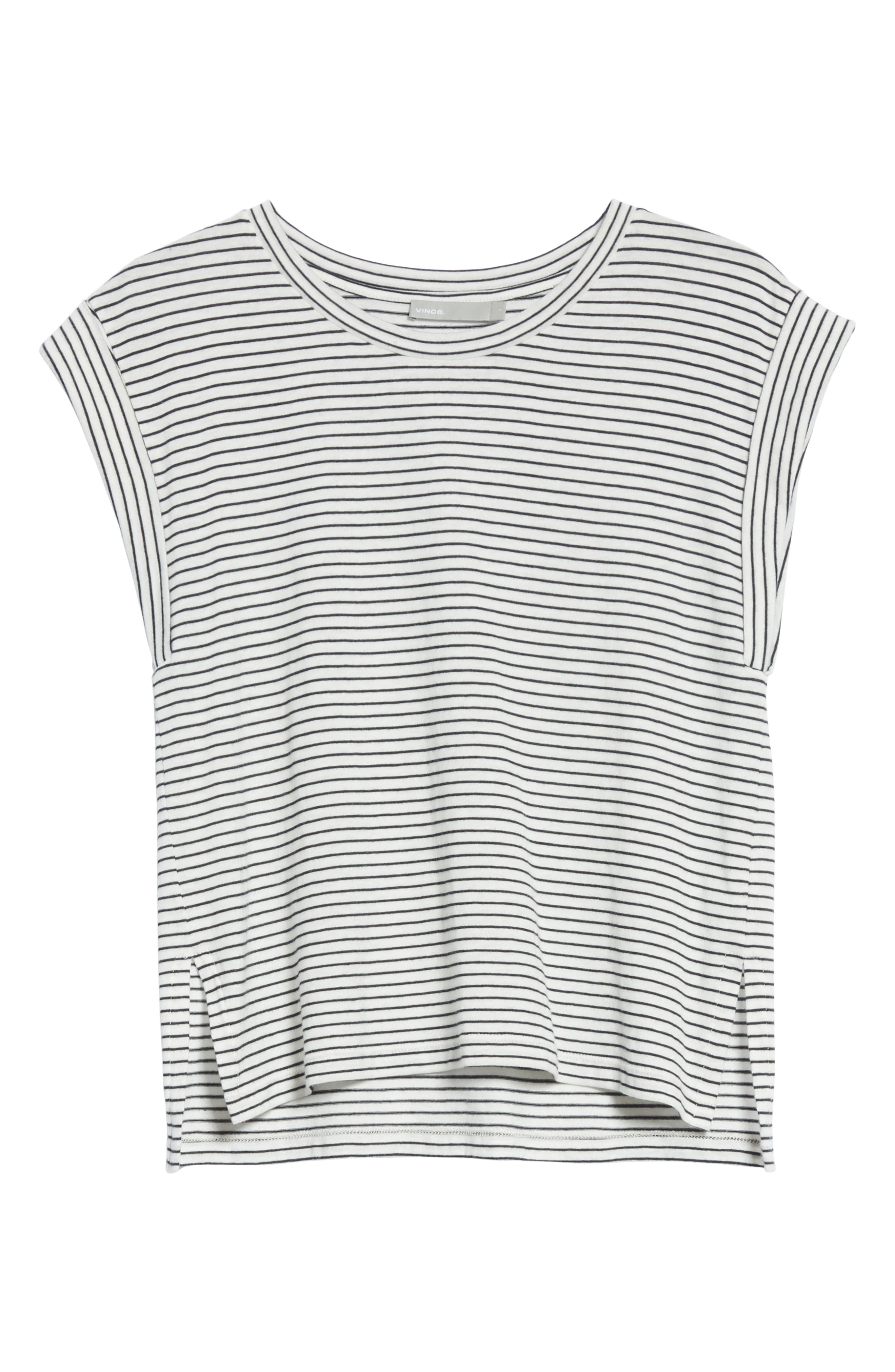 Classic Stripe Rolled Sleeve Cotton Tee,                             Alternate thumbnail 6, color,                             Vanilla/ Coastal