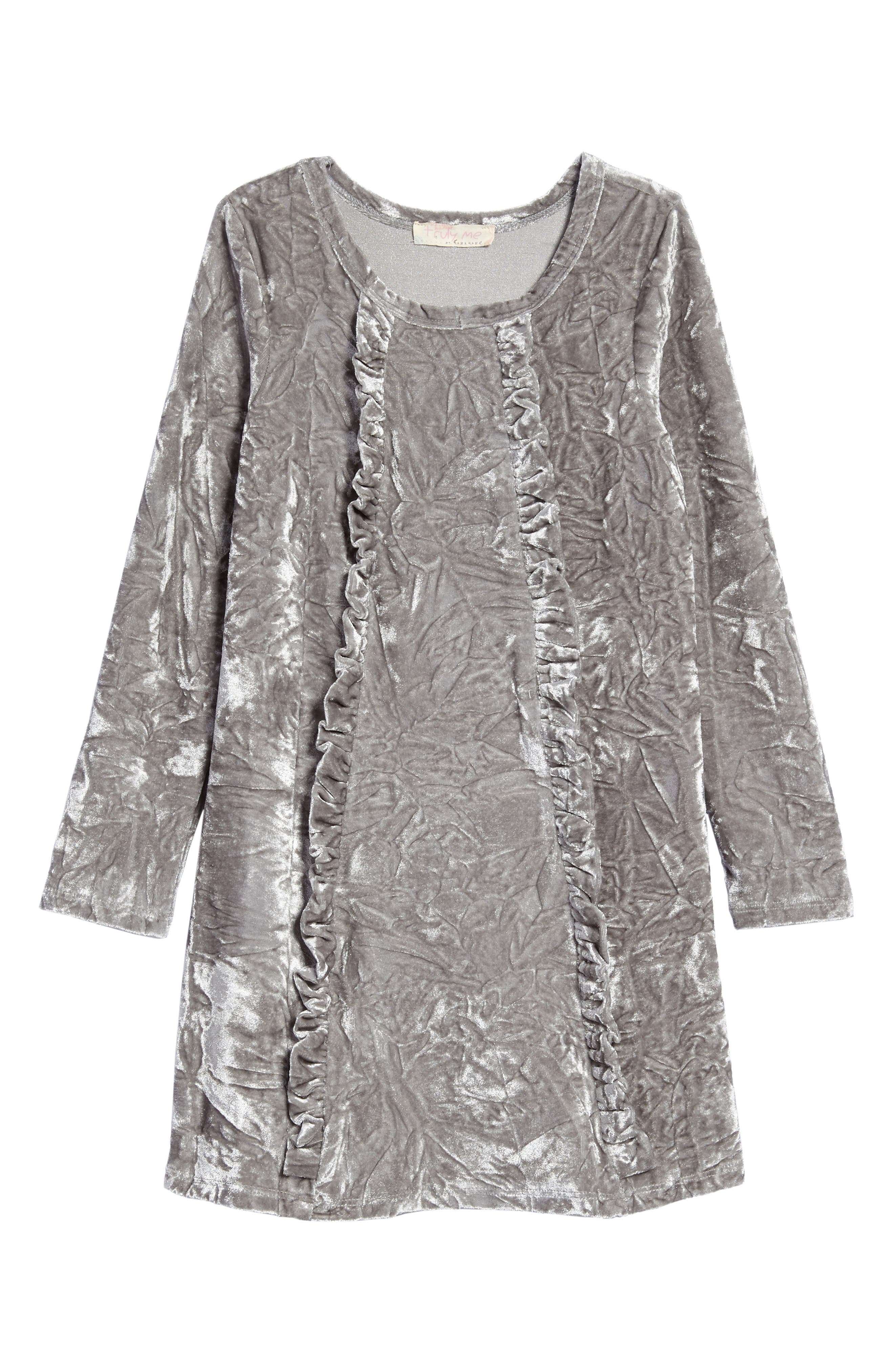 Ruffle Velvet Dress,                             Main thumbnail 1, color,                             Silver