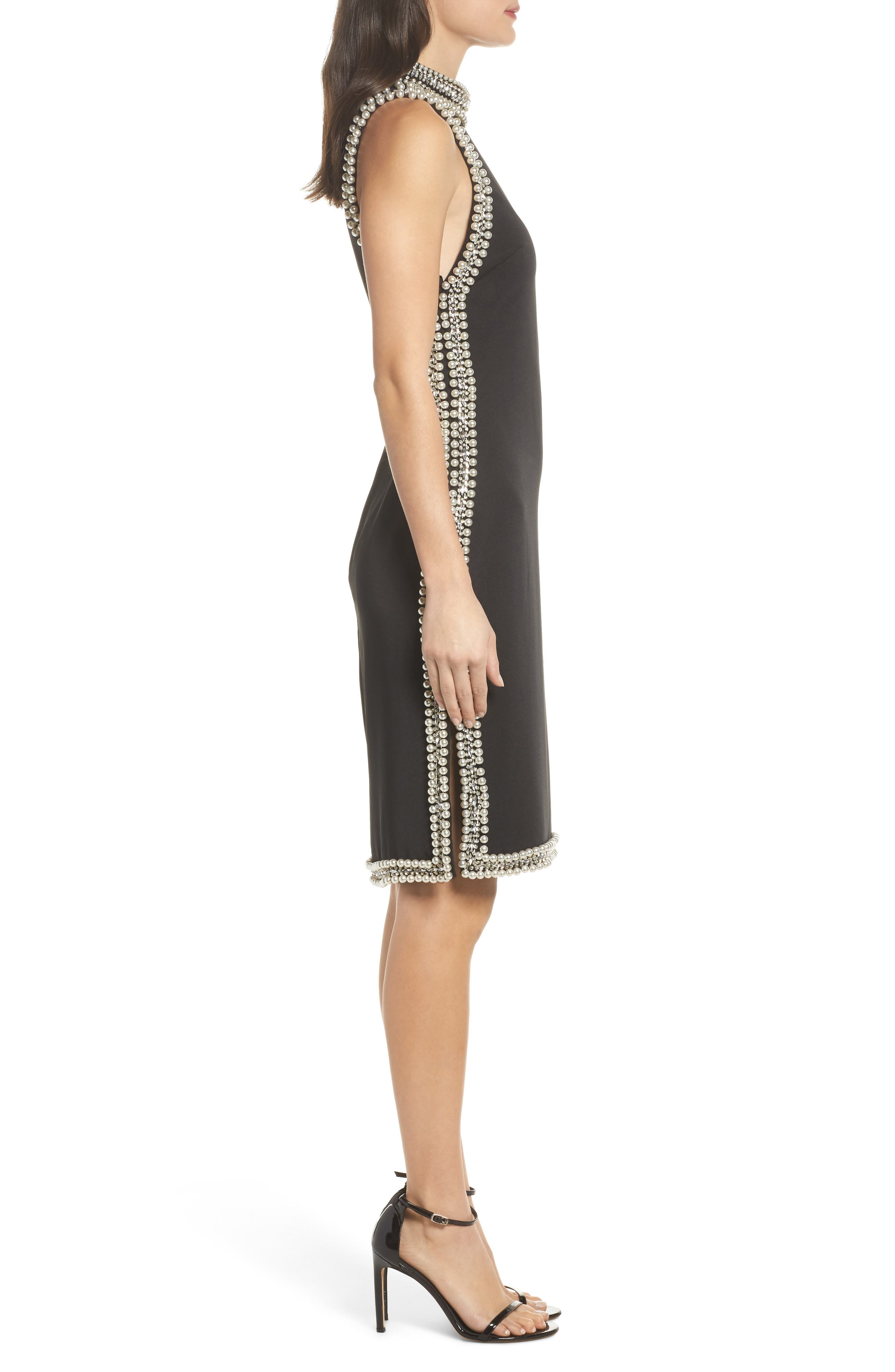 Embellished Trim Sheath Dress,                             Alternate thumbnail 3, color,                             Black