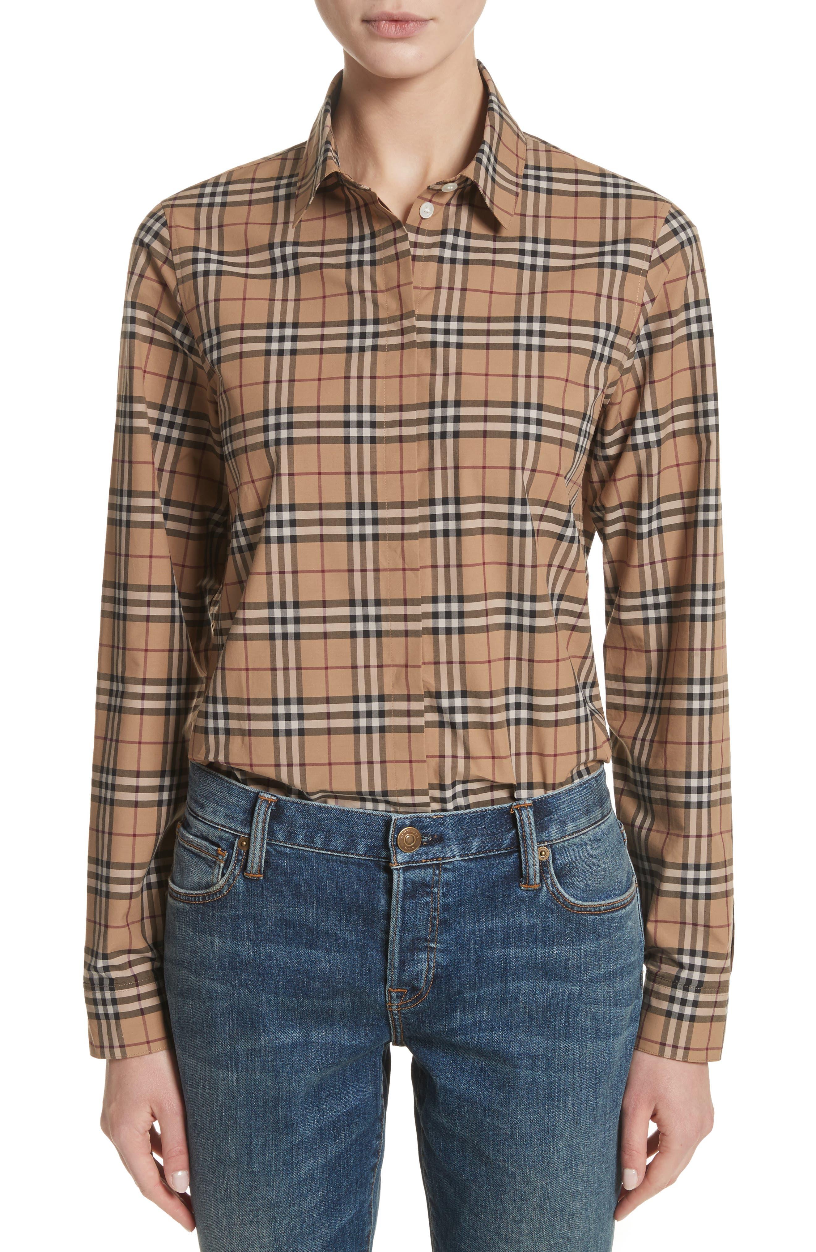 Vintage Check Cotton Shirt,                         Main,                         color, Camel