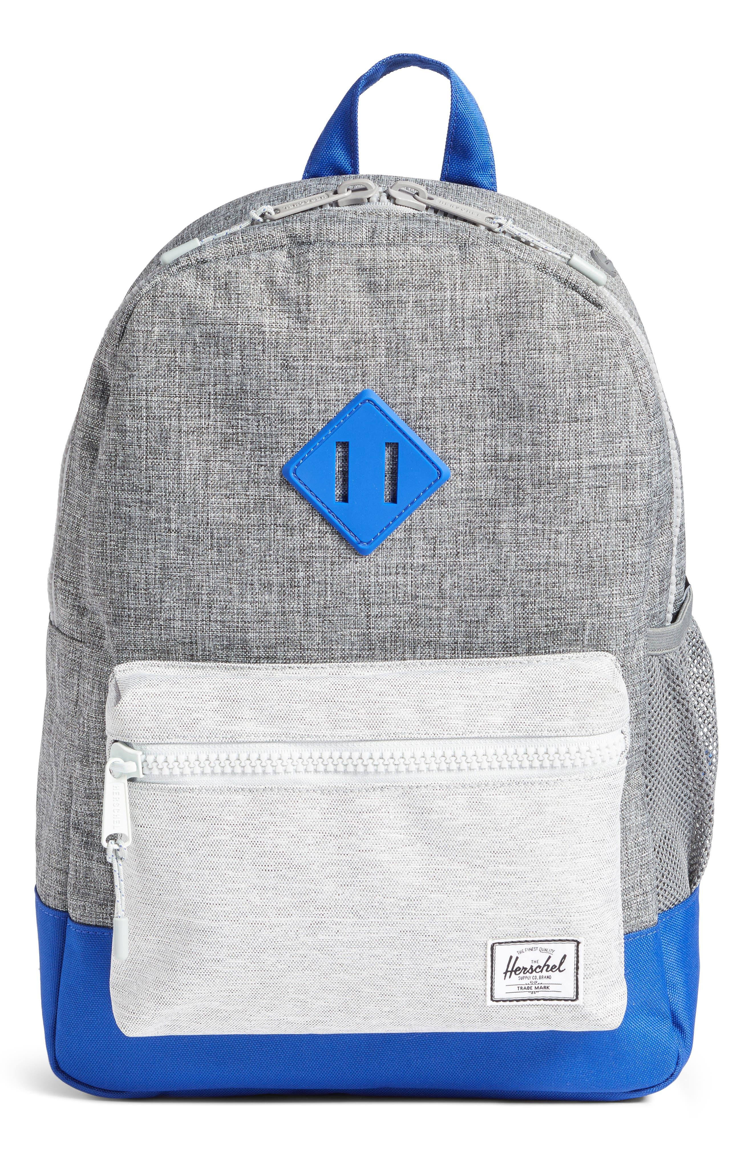 Heritage Colorblocked Backpack,                         Main,                         color, Raven Crosshatch/ Surf Blue