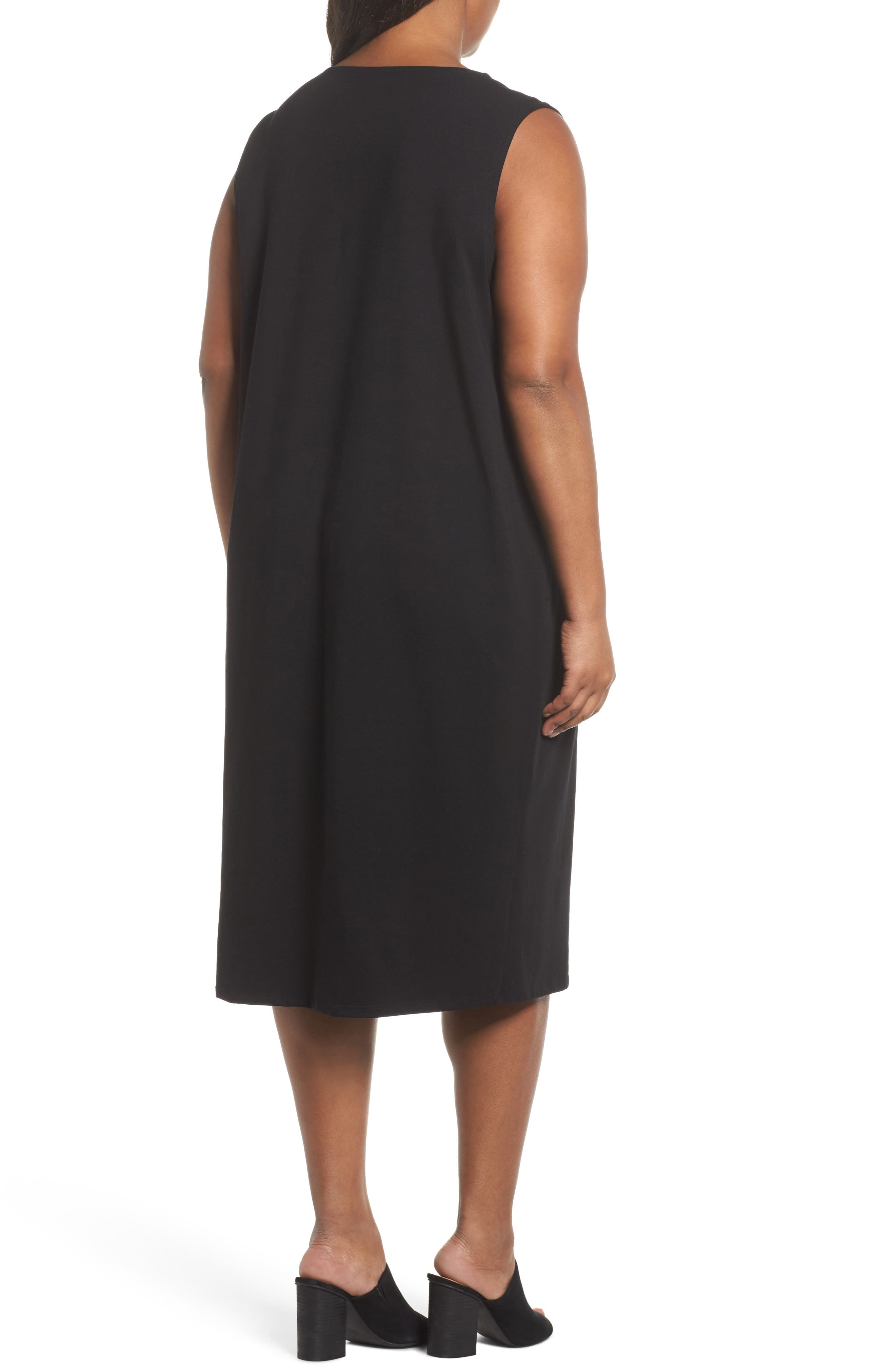 Stretch Organic Cotton Jersey Shift Dress,                             Alternate thumbnail 2, color,                             Black
