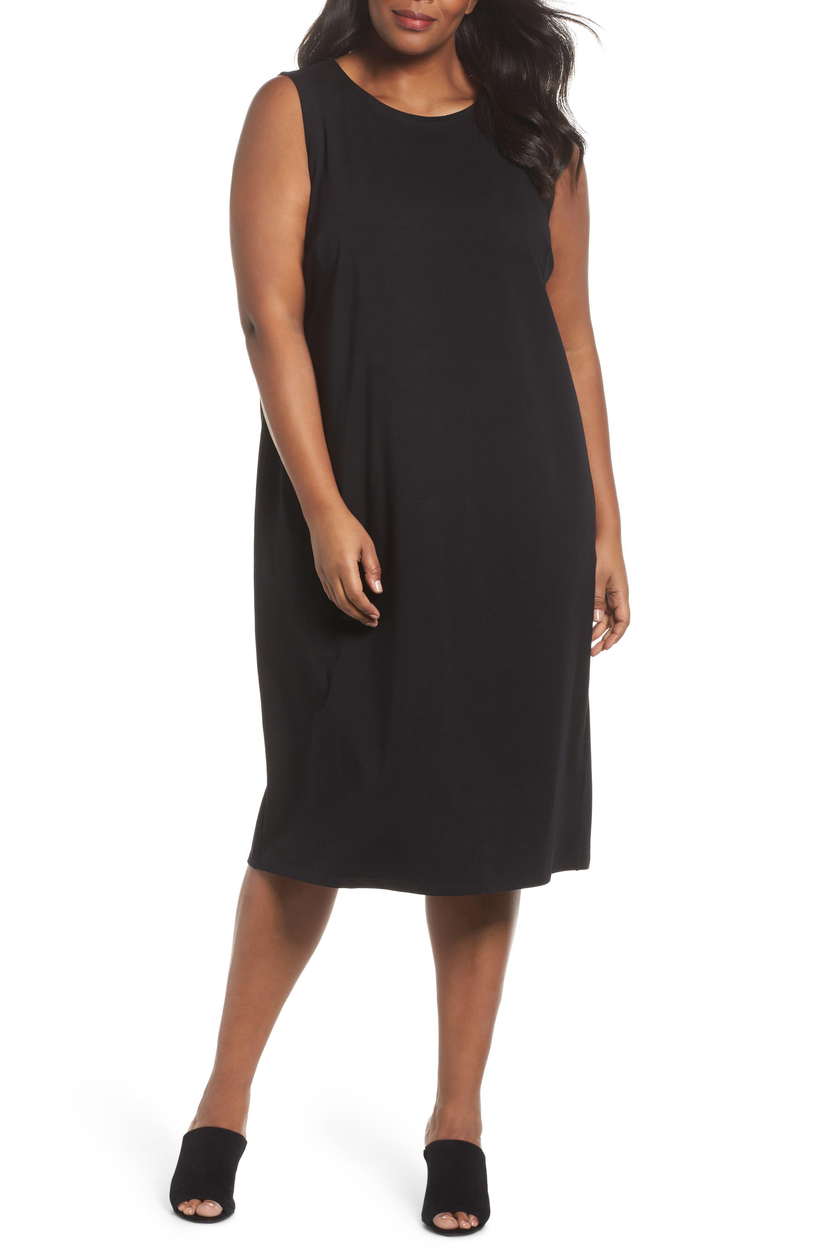 Main Image - Eileen Fisher Stretch Organic Cotton Jersey Shift Dress (Plus Size)
