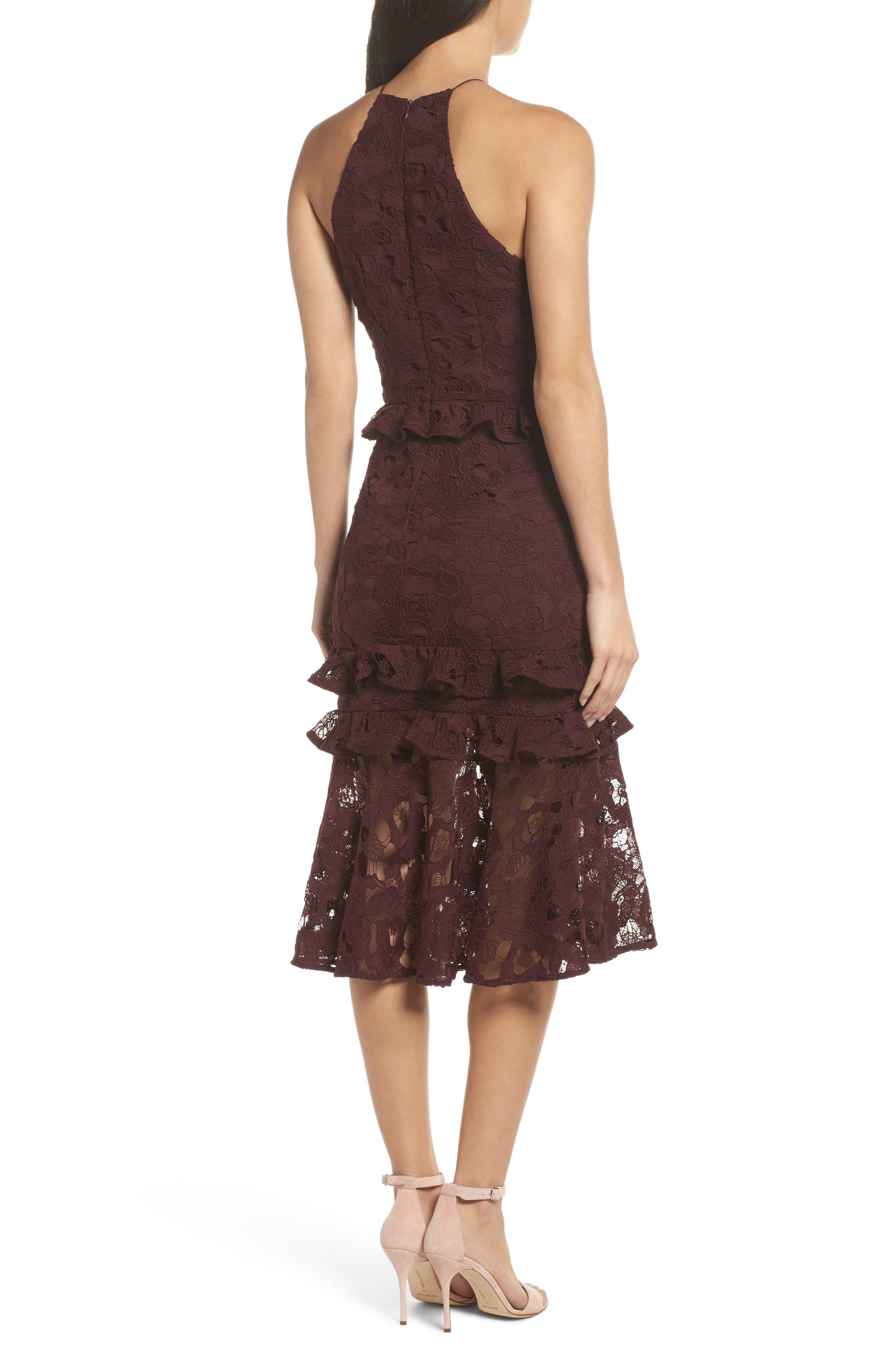 Enchantment Lace Midi Dress,                             Alternate thumbnail 2, color,                             Mahogany