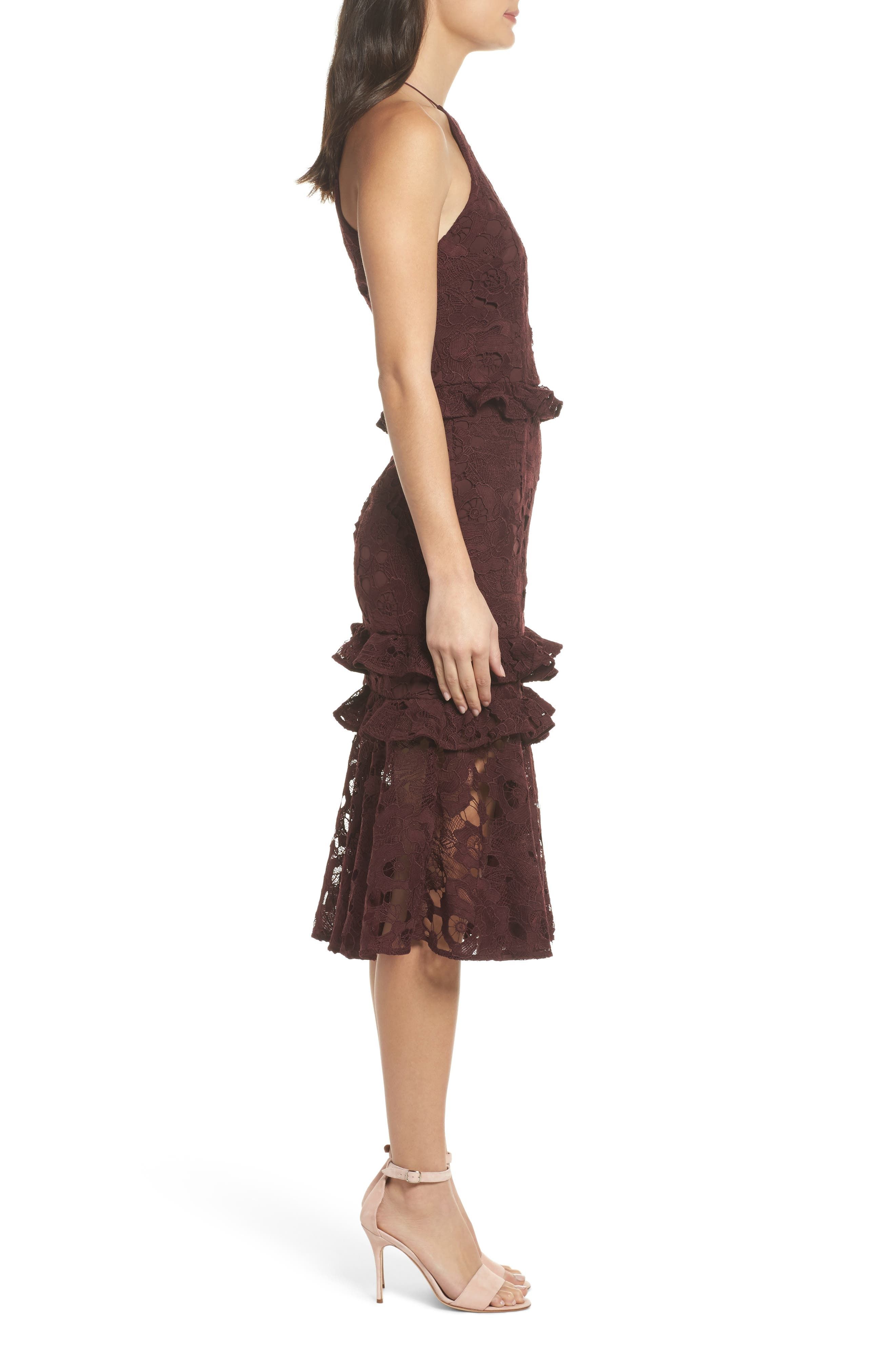 Enchantment Lace Midi Dress,                             Alternate thumbnail 3, color,                             Mahogany